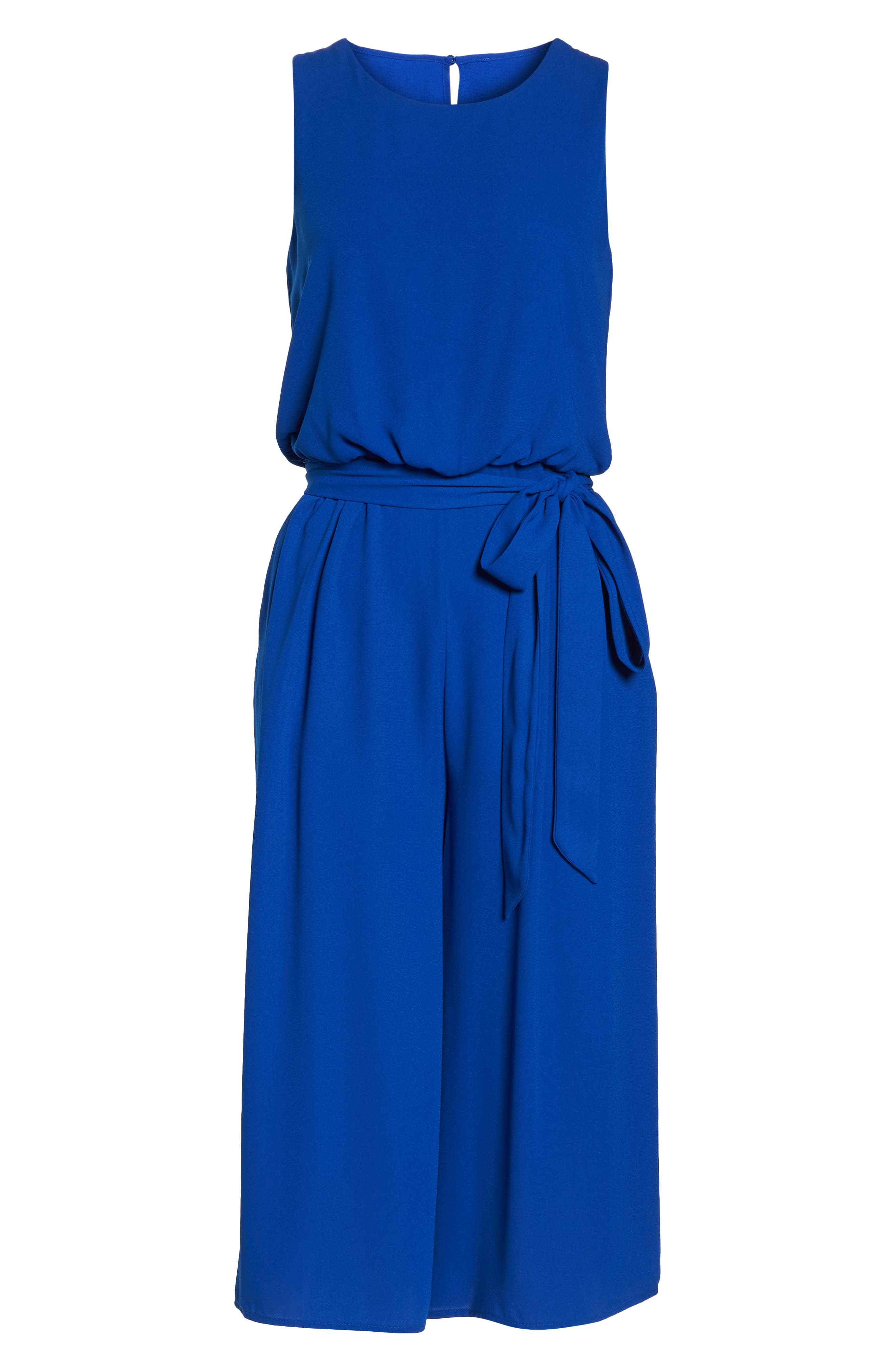 Moss Crepe Wide Leg Jumpsuit,                             Alternate thumbnail 6, color,                             ROYAL