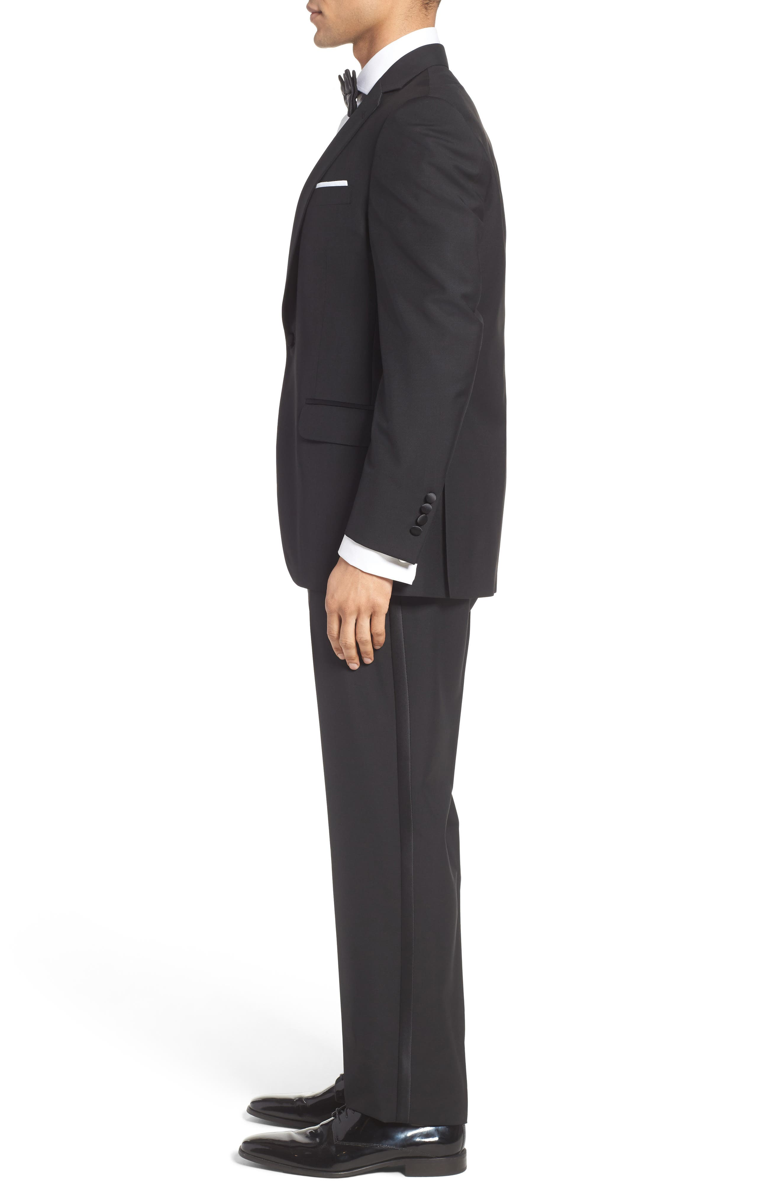 Classic Fit Wool & Mohair Tuxedo,                             Alternate thumbnail 3, color,                             001