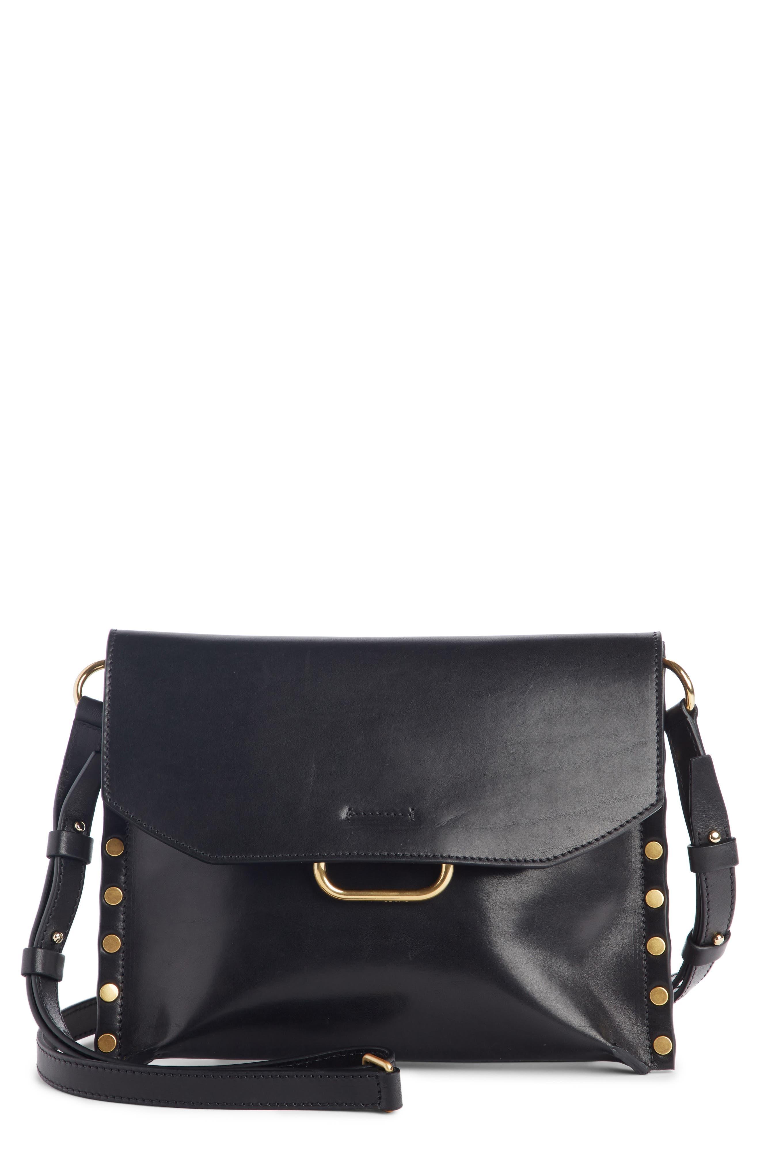 Sinky Leather Crossbody Bag,                             Main thumbnail 1, color,                             BLACK