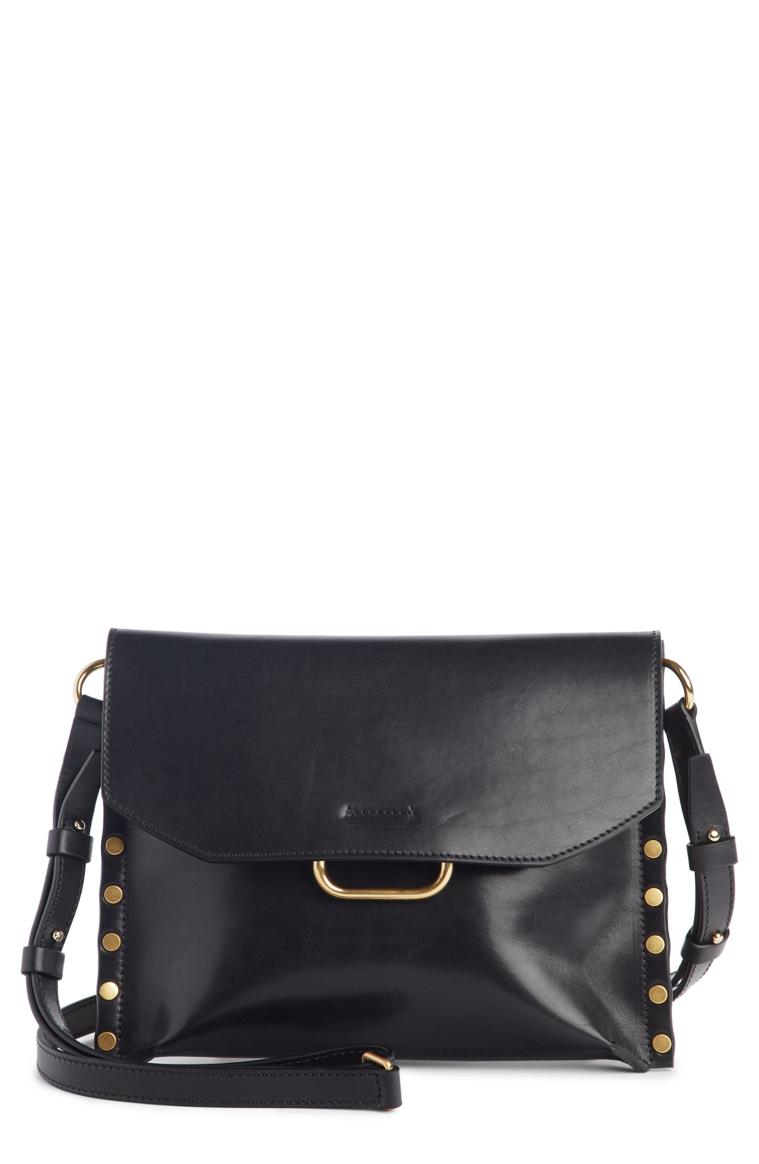Sinky Leather Crossbody Bag,                         Main,                         color, BLACK