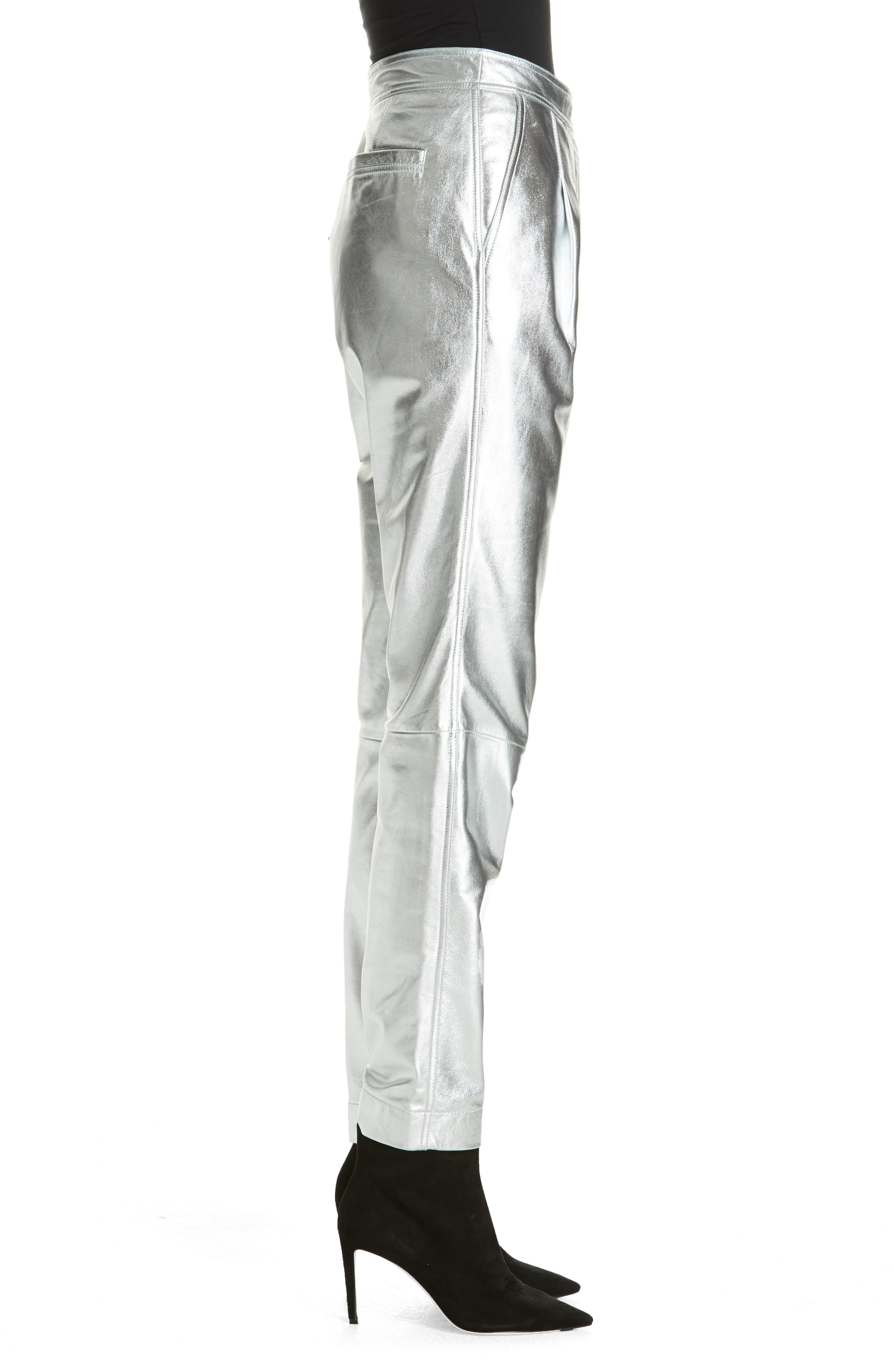 Leather Pants,                             Alternate thumbnail 3, color,                             SILVER