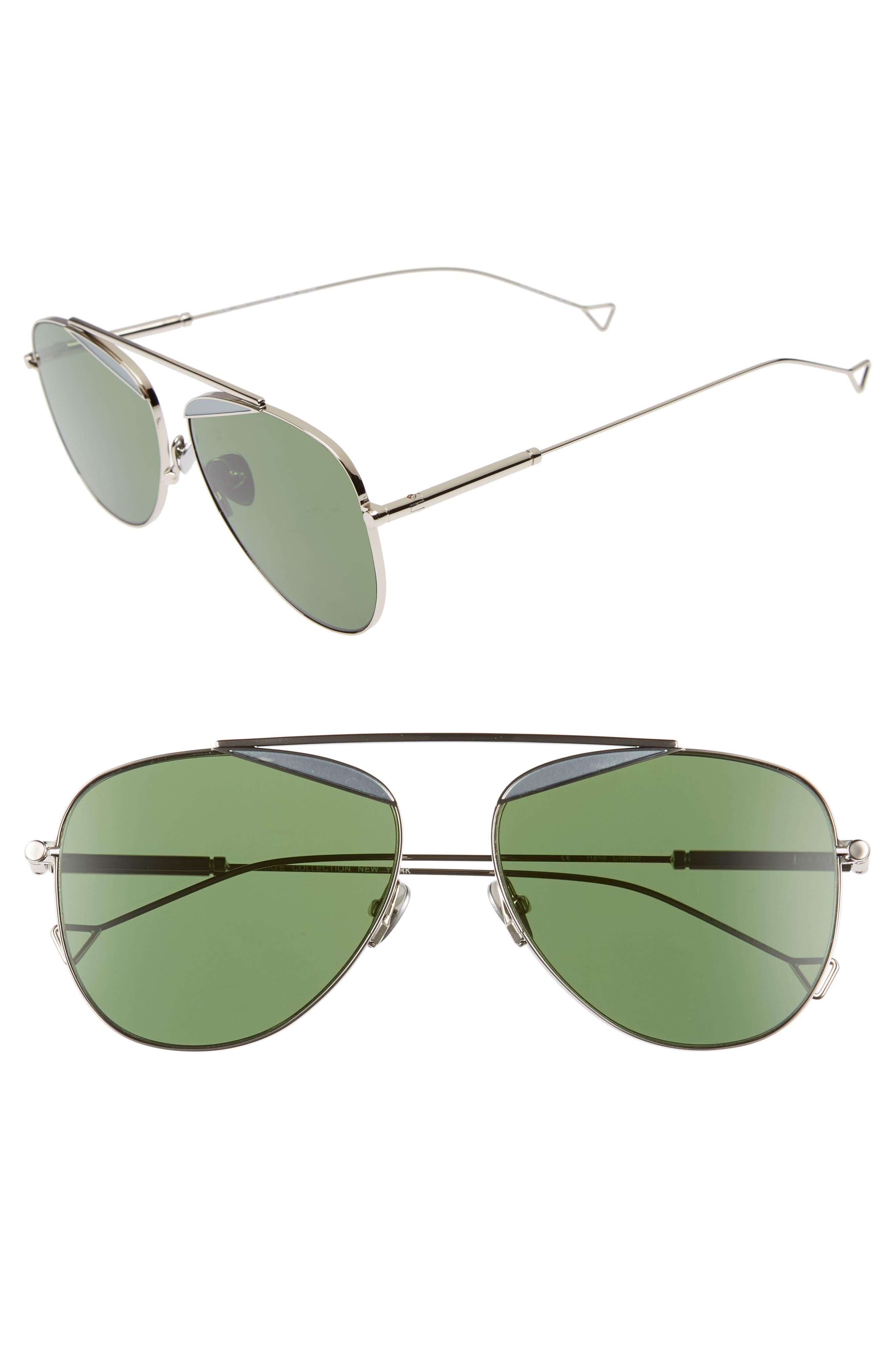 The Durete 58mm Aviator Sunglasses,                             Main thumbnail 1, color,                             BOTTLE GREEN