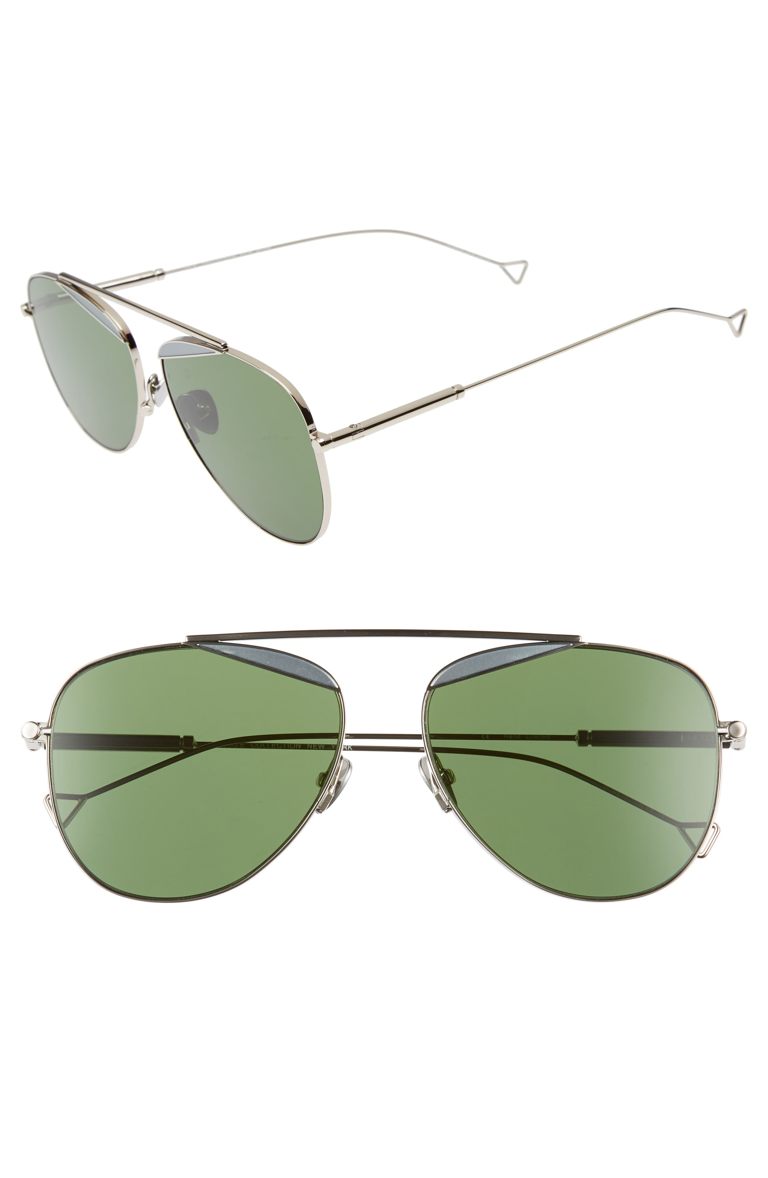 The Durete 58mm Aviator Sunglasses,                         Main,                         color, BOTTLE GREEN