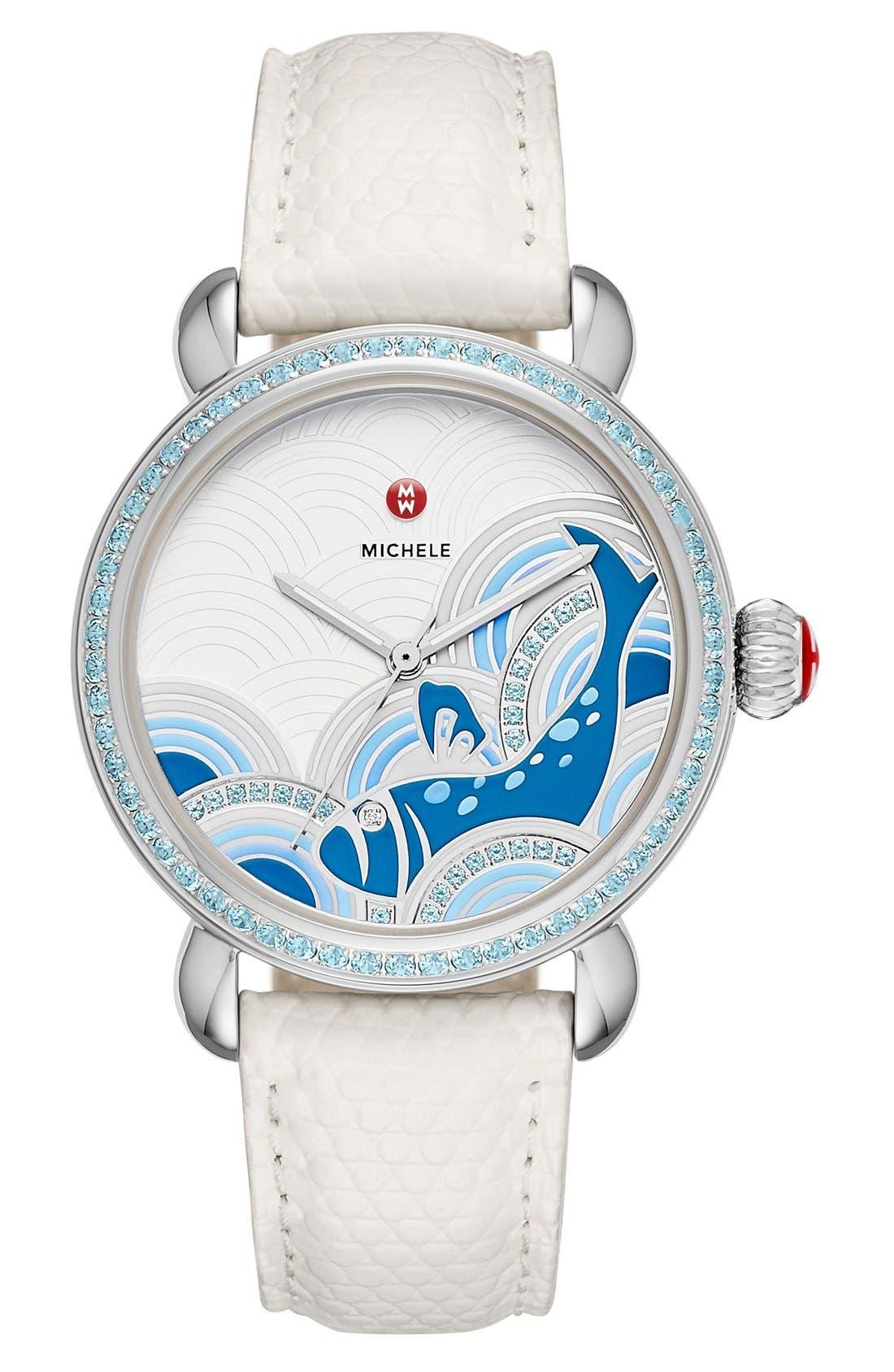 Seaside Topaz Diamond Watch, 36mm, Main, color, 100