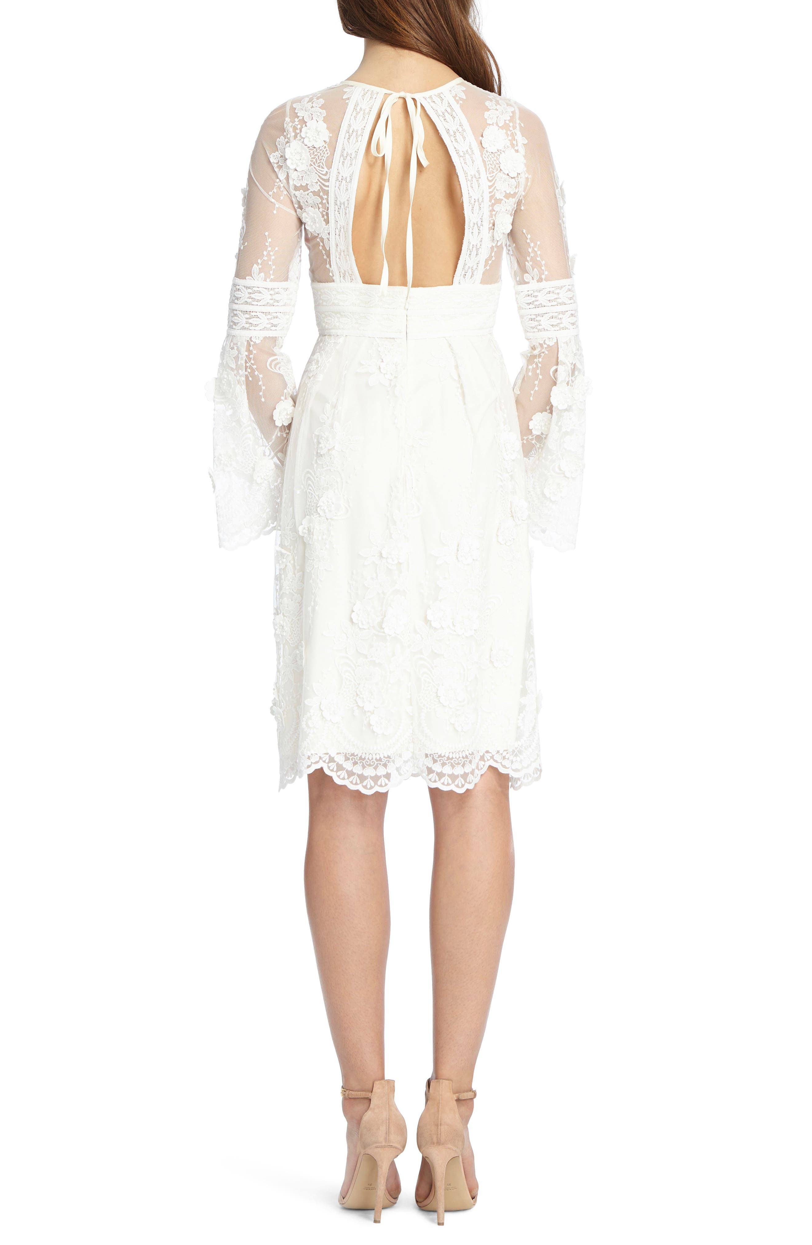Bell Sleeve Mixed Lace Dress,                             Alternate thumbnail 2, color,