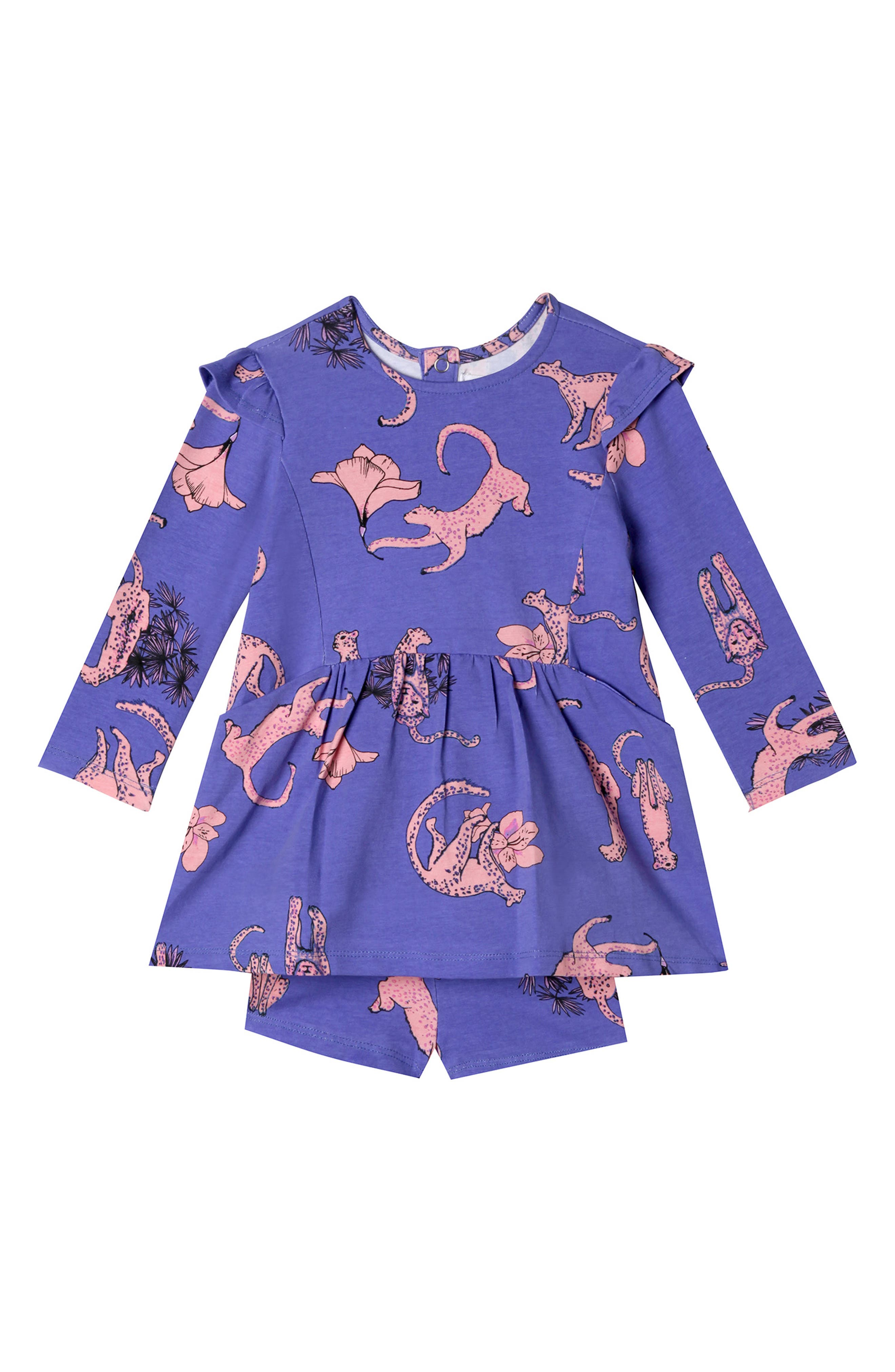Leah Leopard Dress & Shorts Set,                             Main thumbnail 1, color,                             SNOW LEOPARD