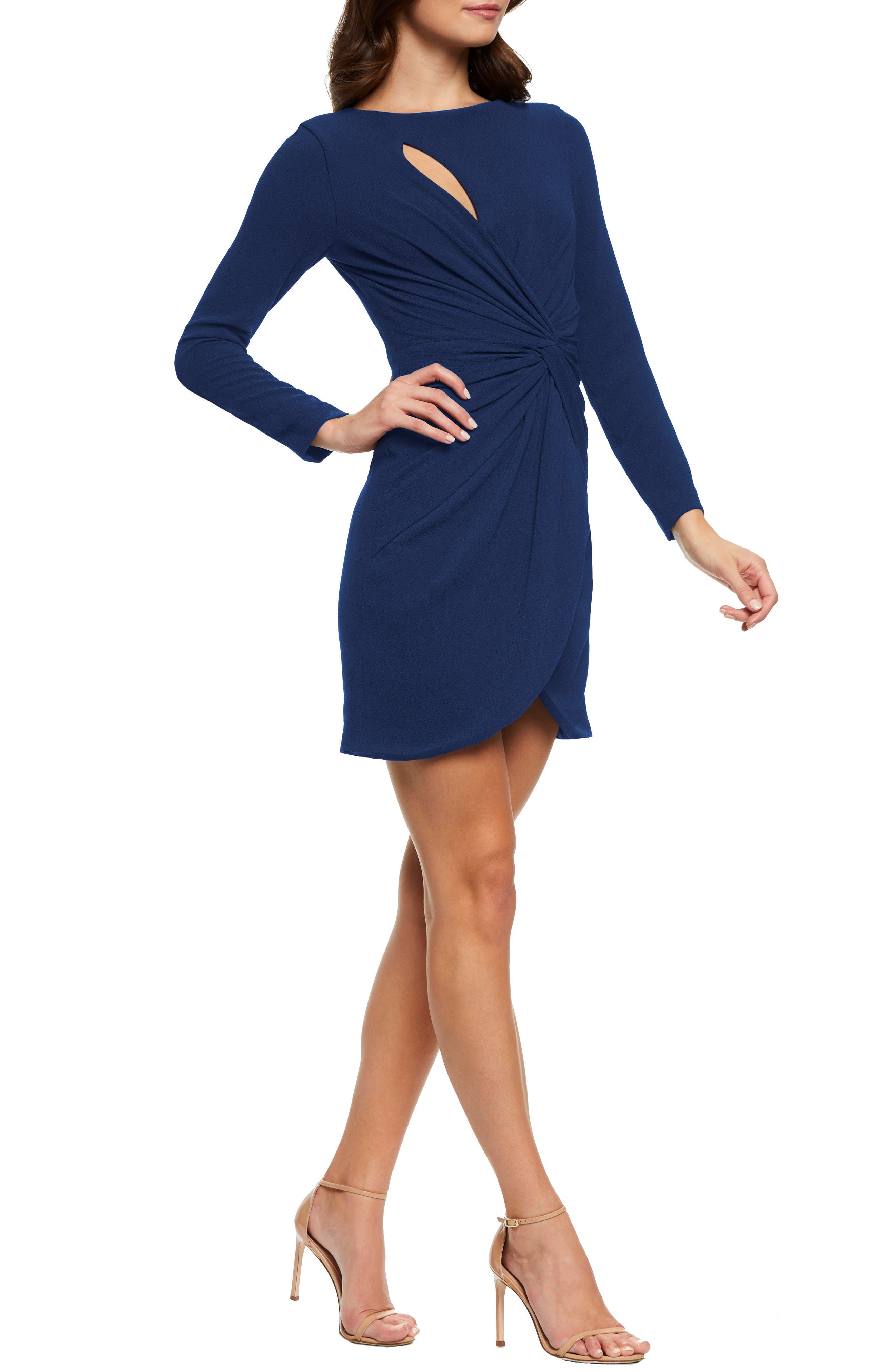 Dress The Population Coby Twisted Faux Wrap Cocktail Dress, Blue