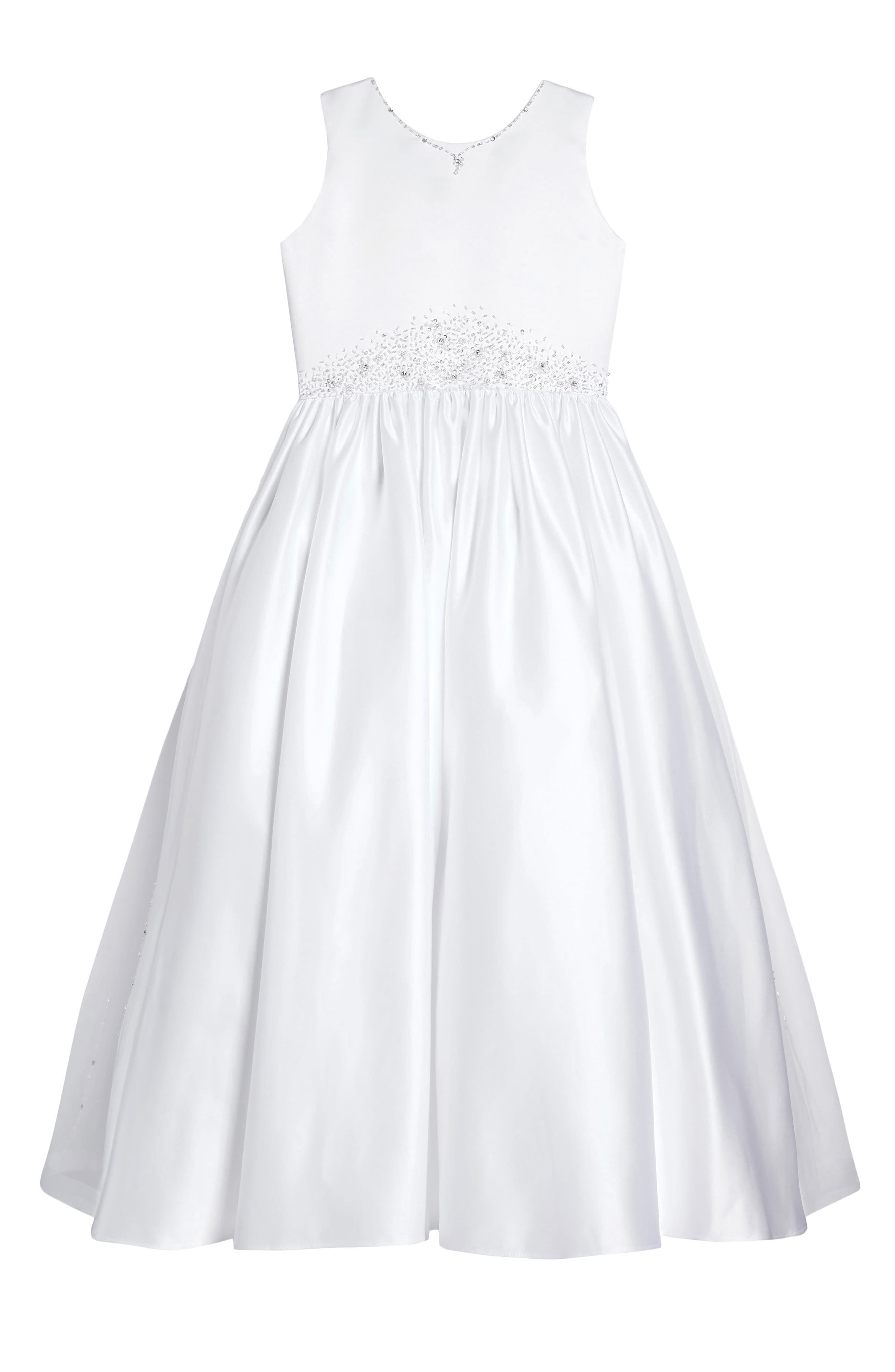 Satin & Tulle First Communion Dress,                         Main,                         color, 100