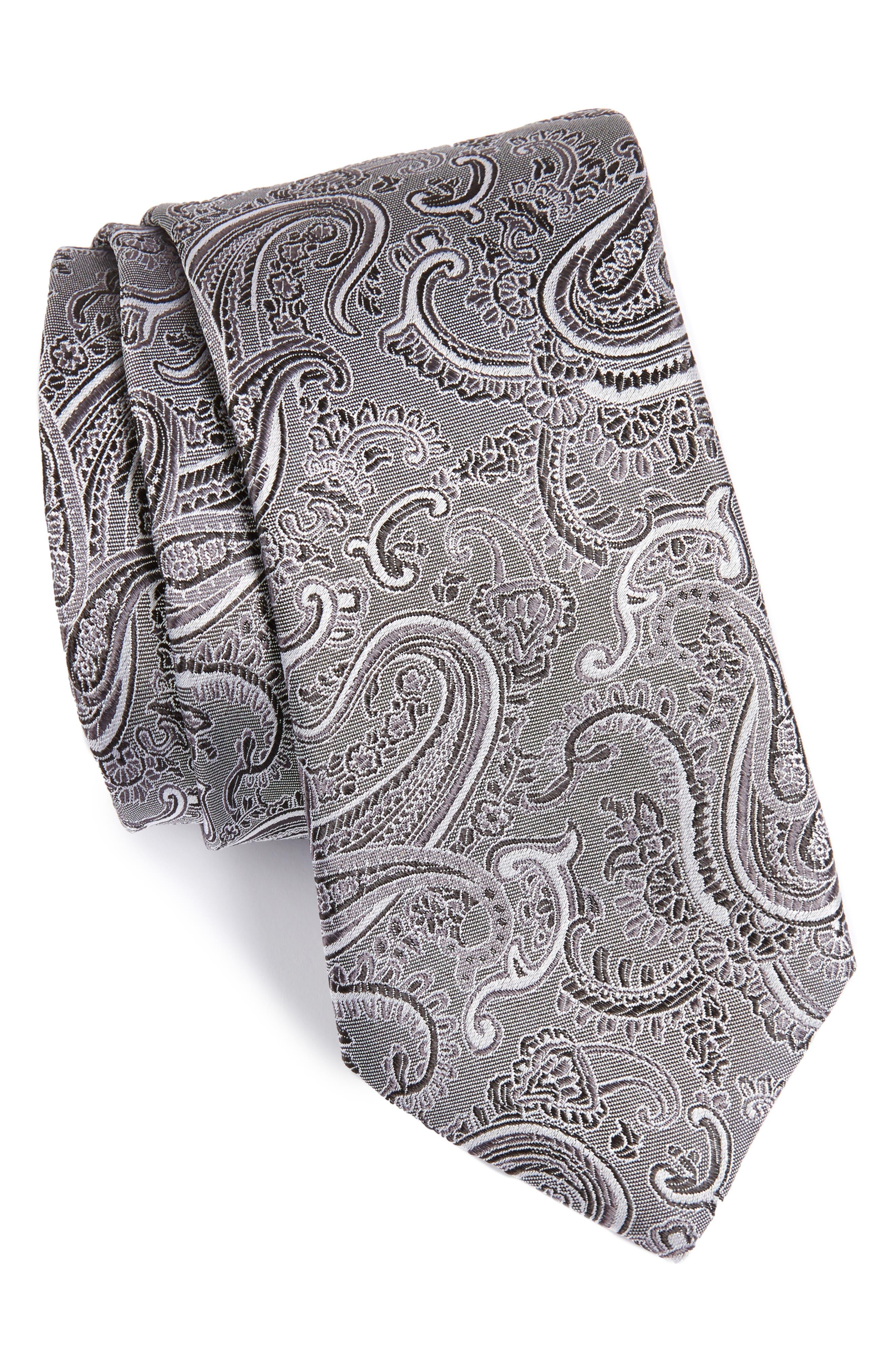 Floating Paisley Silk Tie,                             Main thumbnail 1, color,                             001