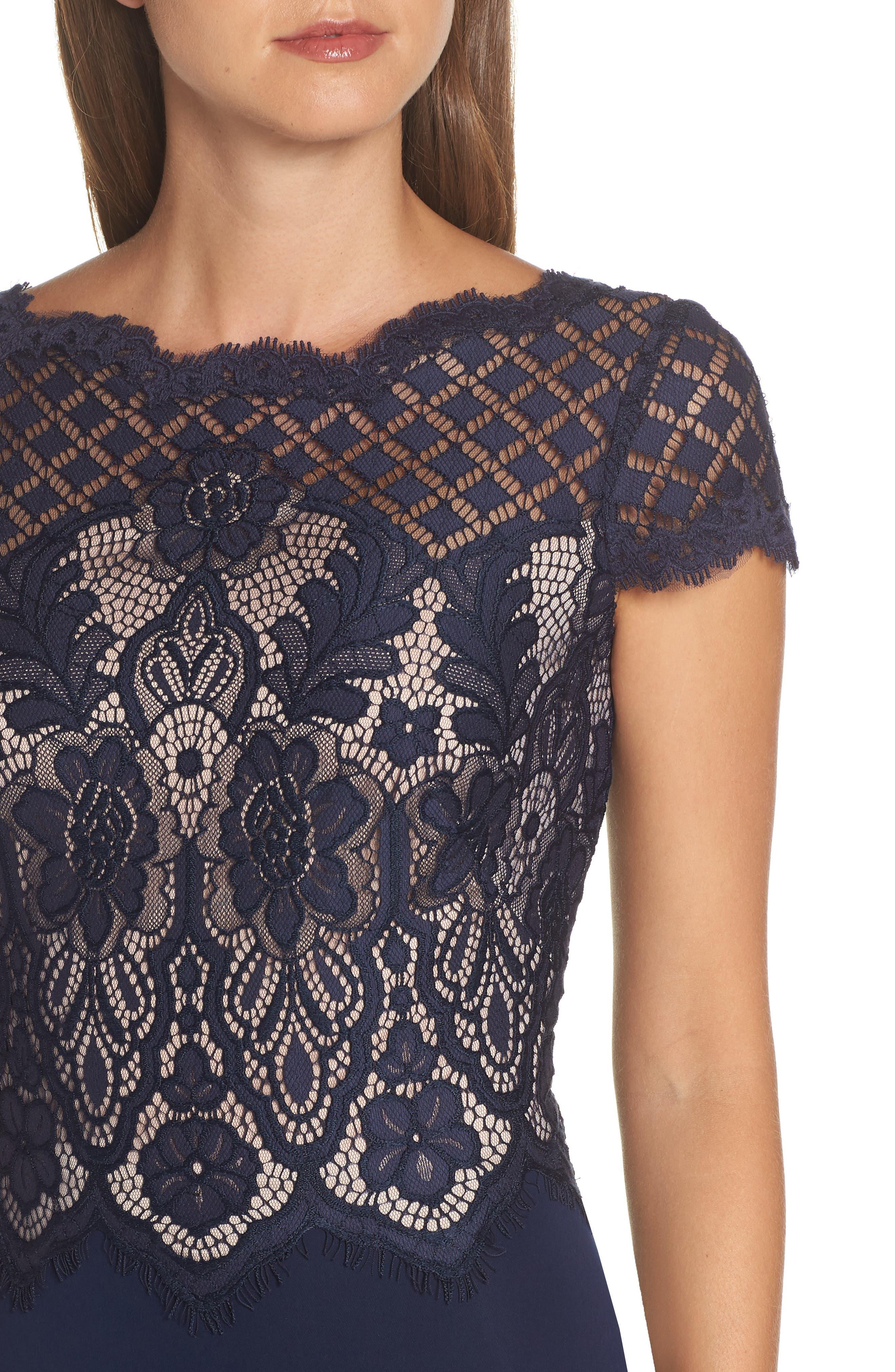 Lace & Crepe A-Line Gown,                             Alternate thumbnail 6, color,                             NAVY/ PETAL