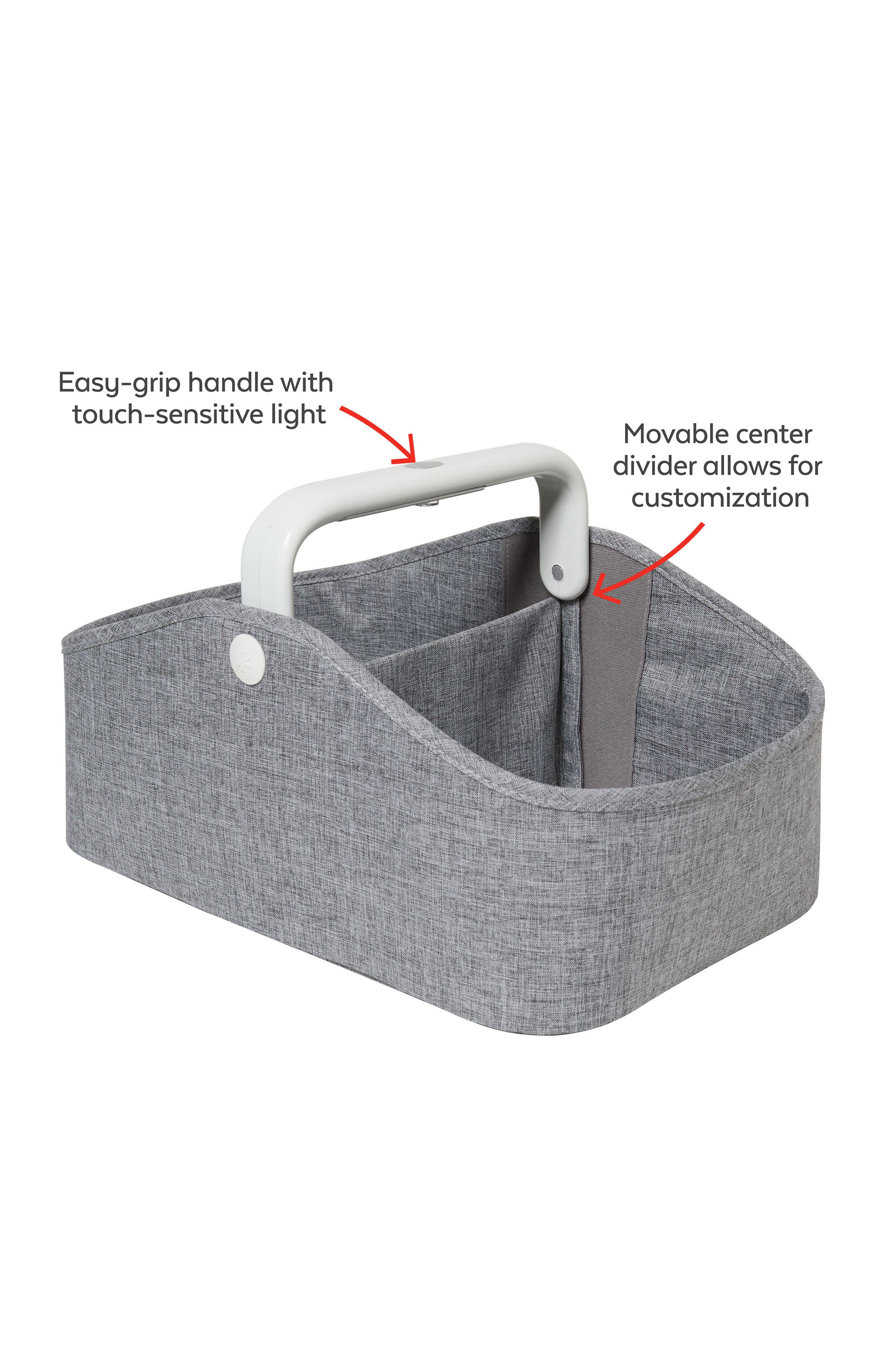 Light Up Diaper Caddy,                             Alternate thumbnail 6, color,                             HEATHER GREY