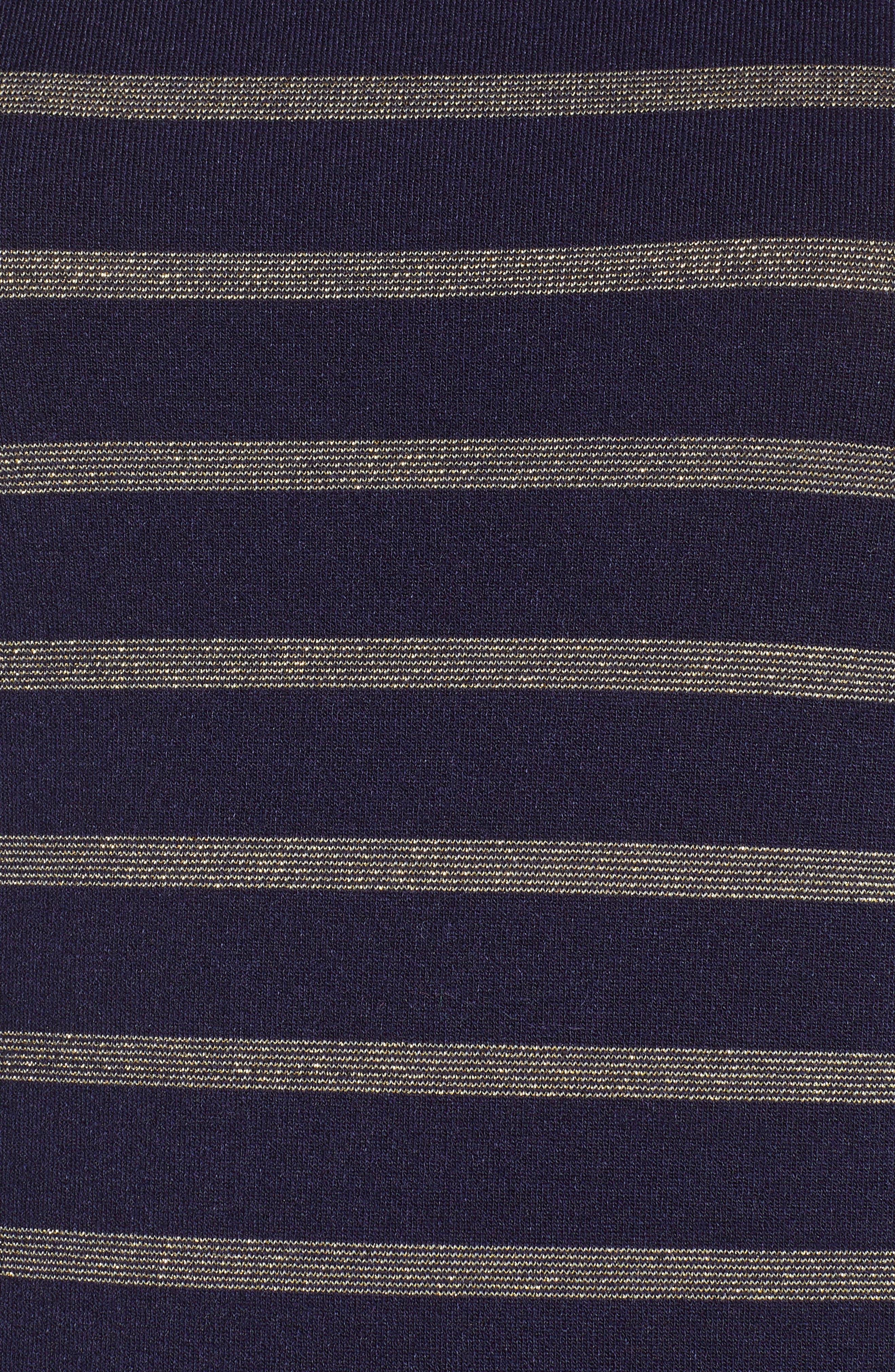 Metallic Stripe Turtleneck,                             Alternate thumbnail 5, color,                             NAVY- GOLD RIPPLE STRIPE
