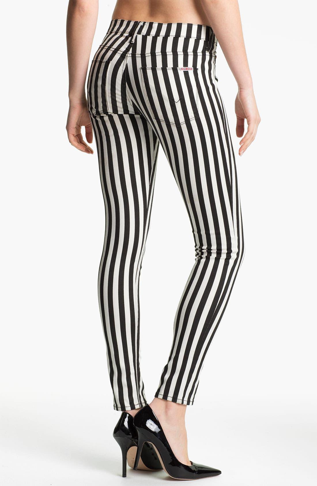 'Krista' Stripe Super Skinny Jeans,                             Alternate thumbnail 2, color,                             001