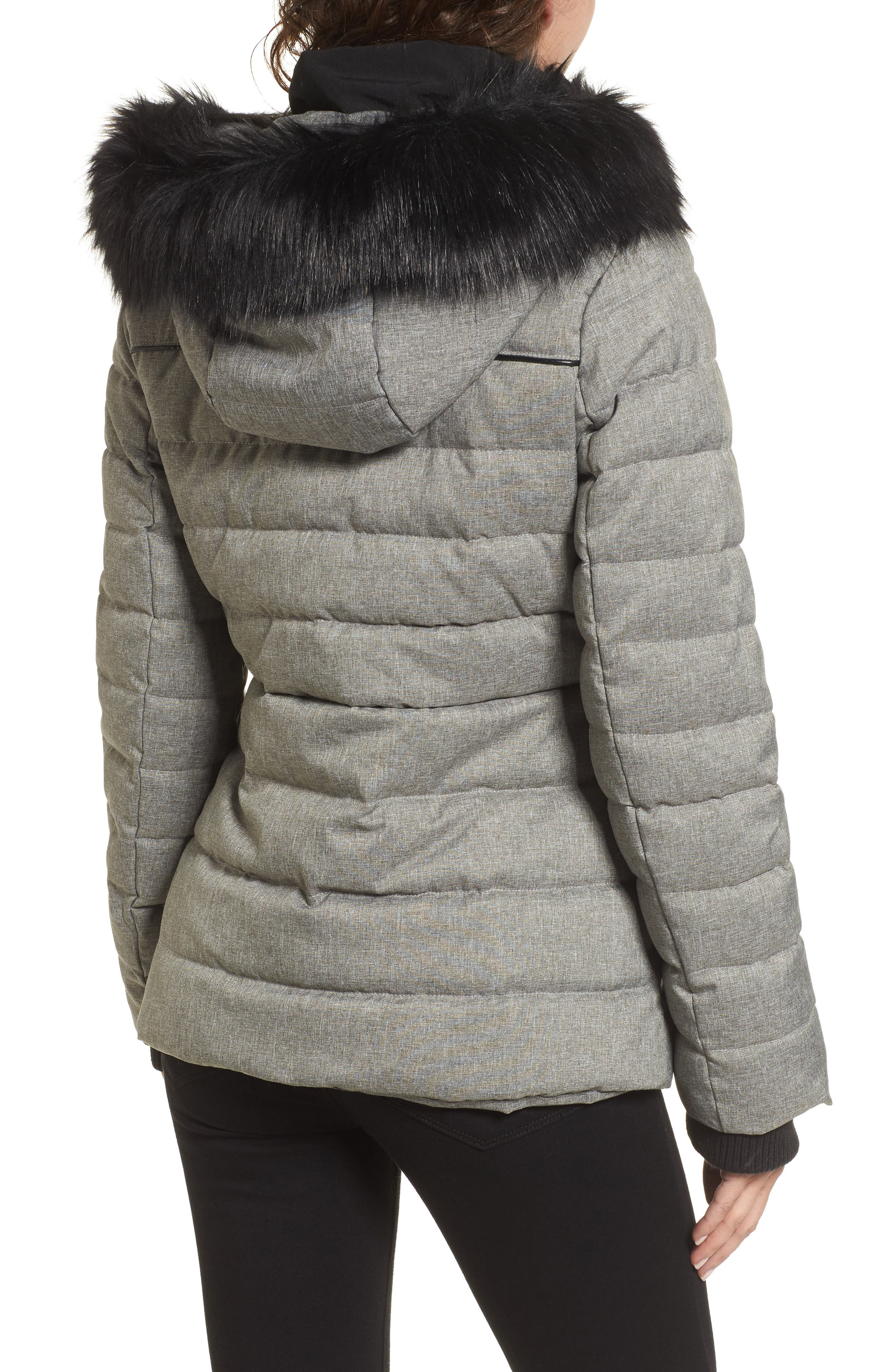 Quilted Hooded Puffer Coat with Faux Fur Trim,                             Alternate thumbnail 2, color,                             064