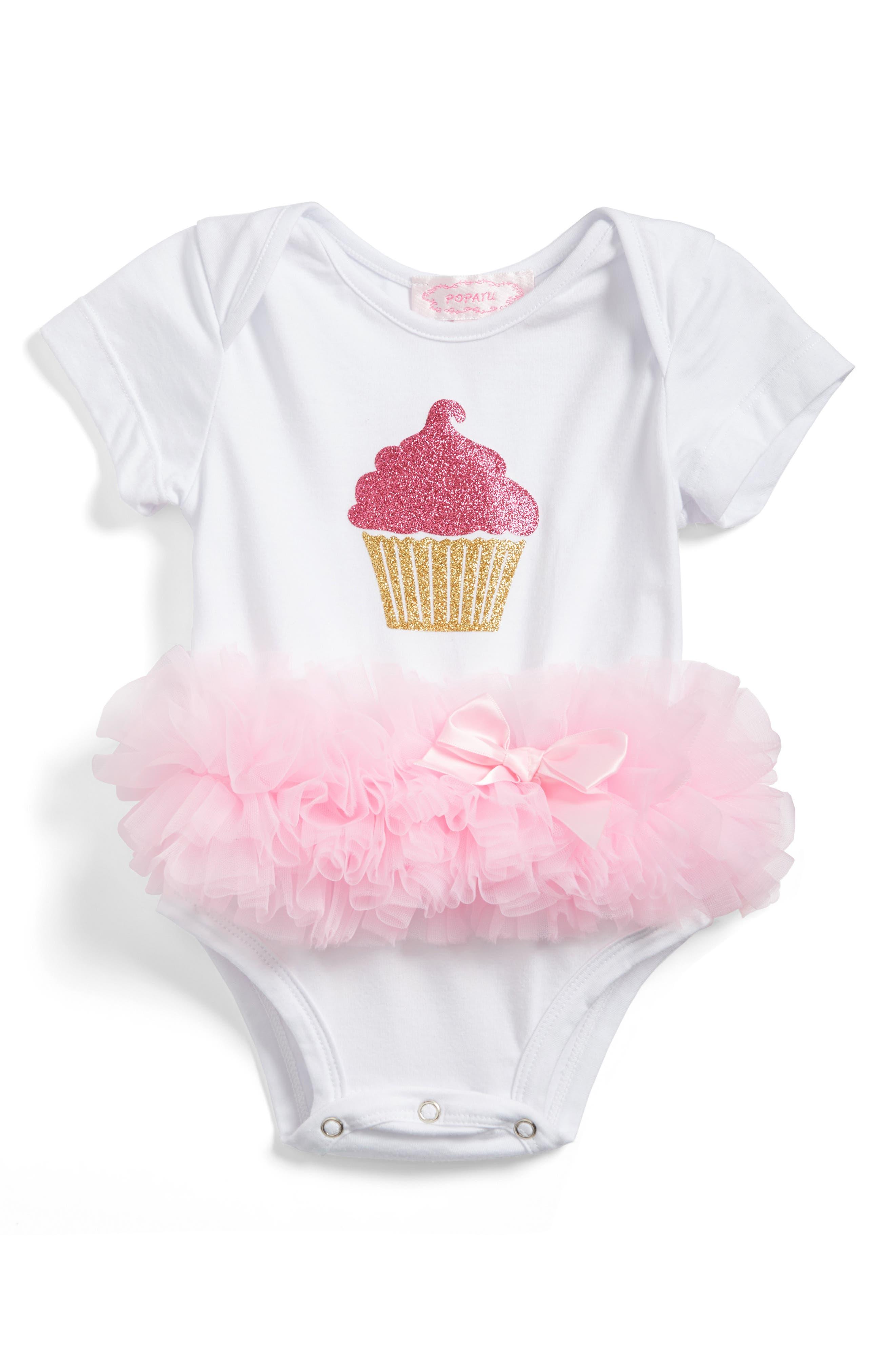 Cupcake Tutu Skirted Bodysuit,                             Main thumbnail 1, color,                             WHITE