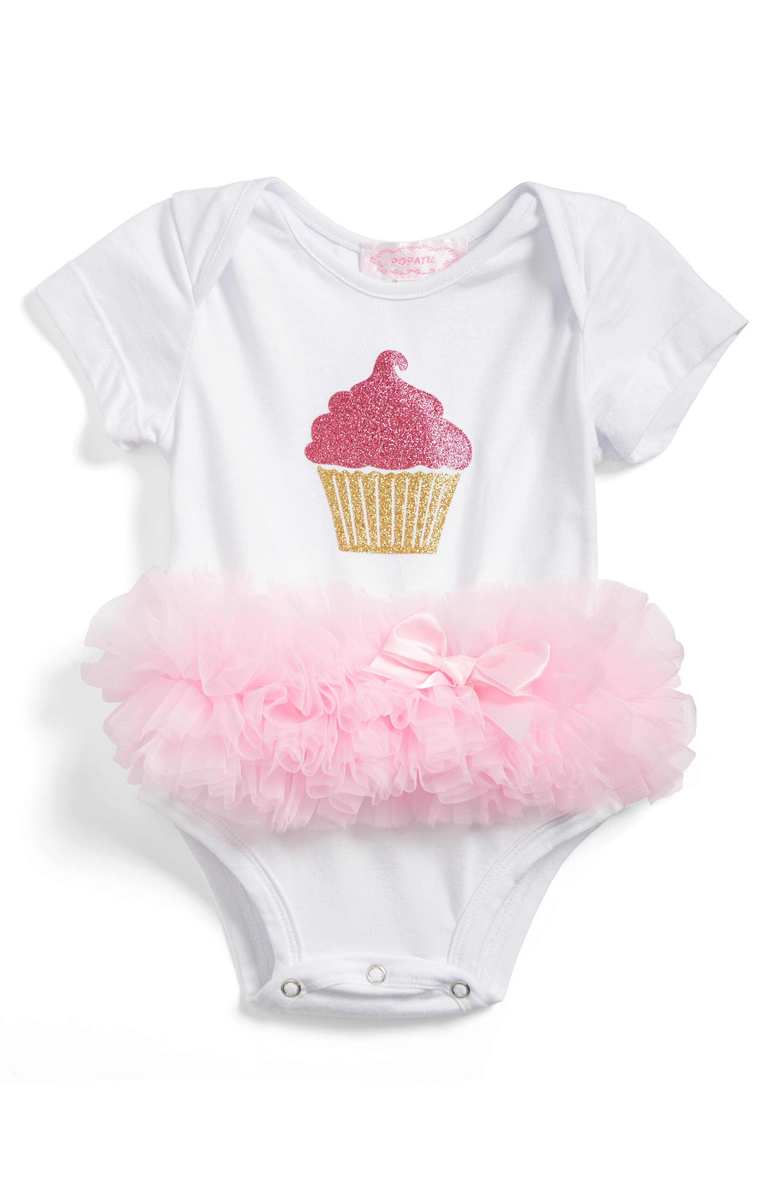 Cupcake Tutu Skirted Bodysuit,                         Main,                         color, WHITE