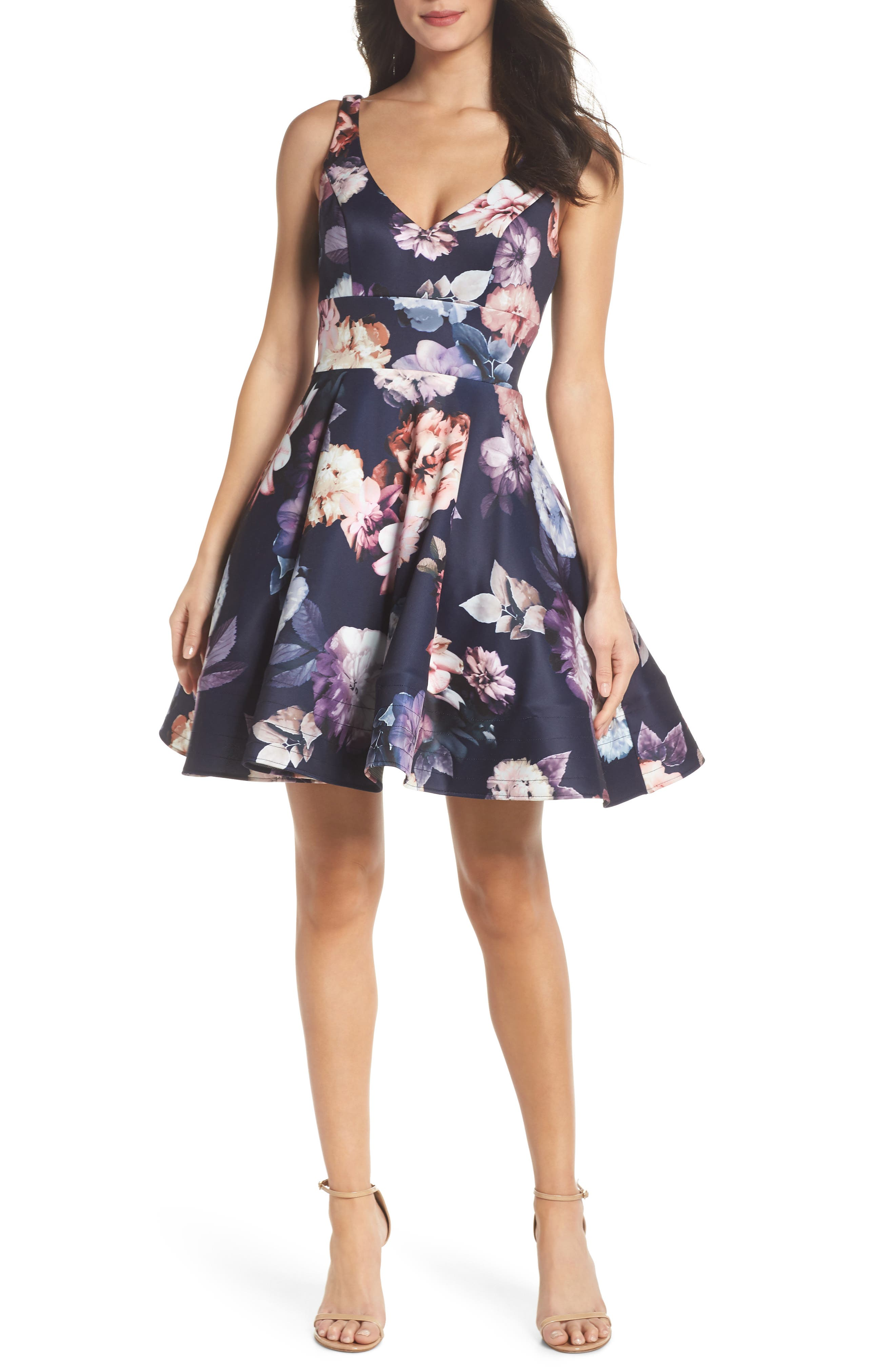 Floral Print Fit & Flare Dress,                             Main thumbnail 1, color,                             NAVY/ PURPLE