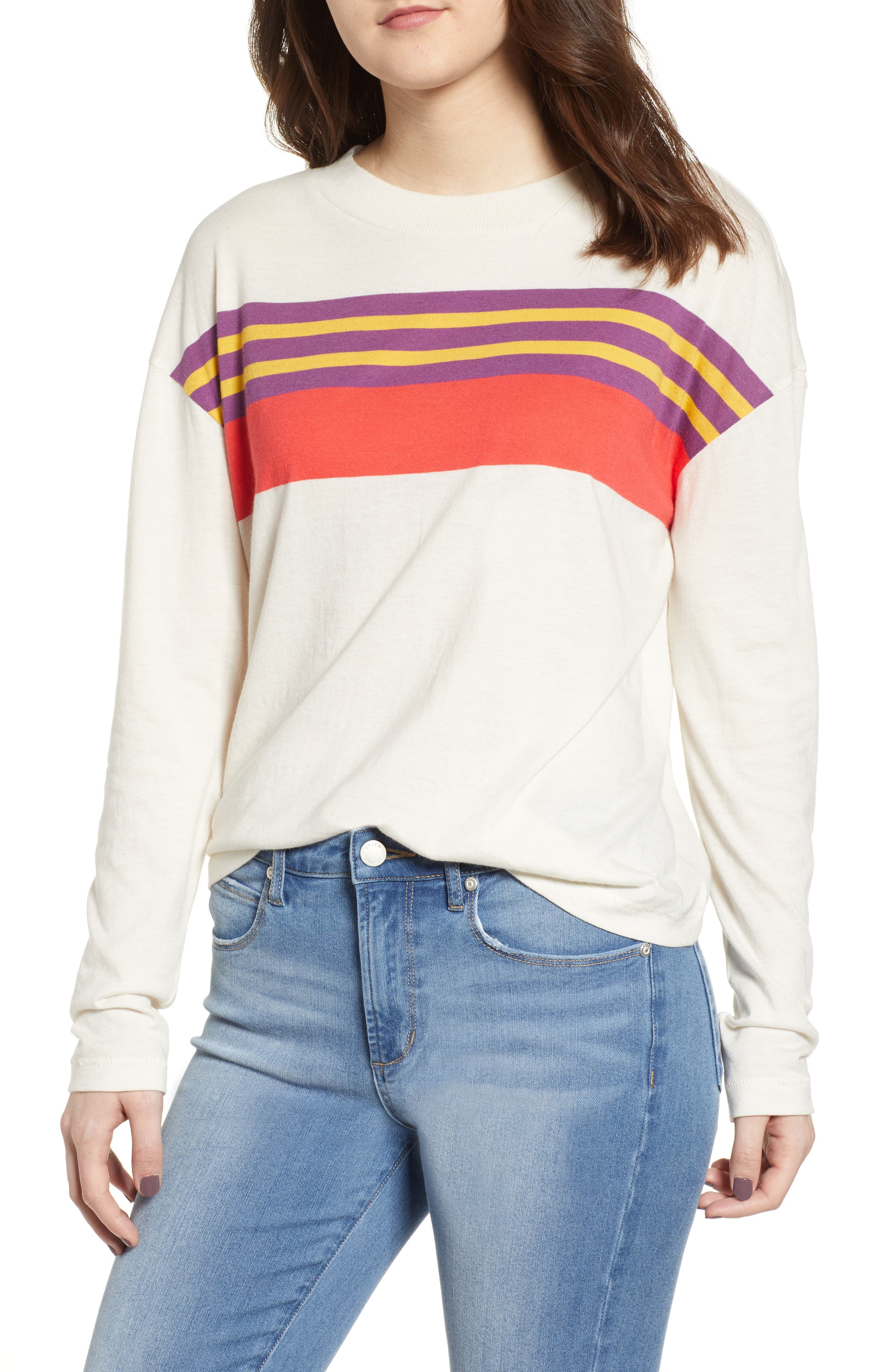 Plus Size Bp. Placed Stripe Tee, Ivory