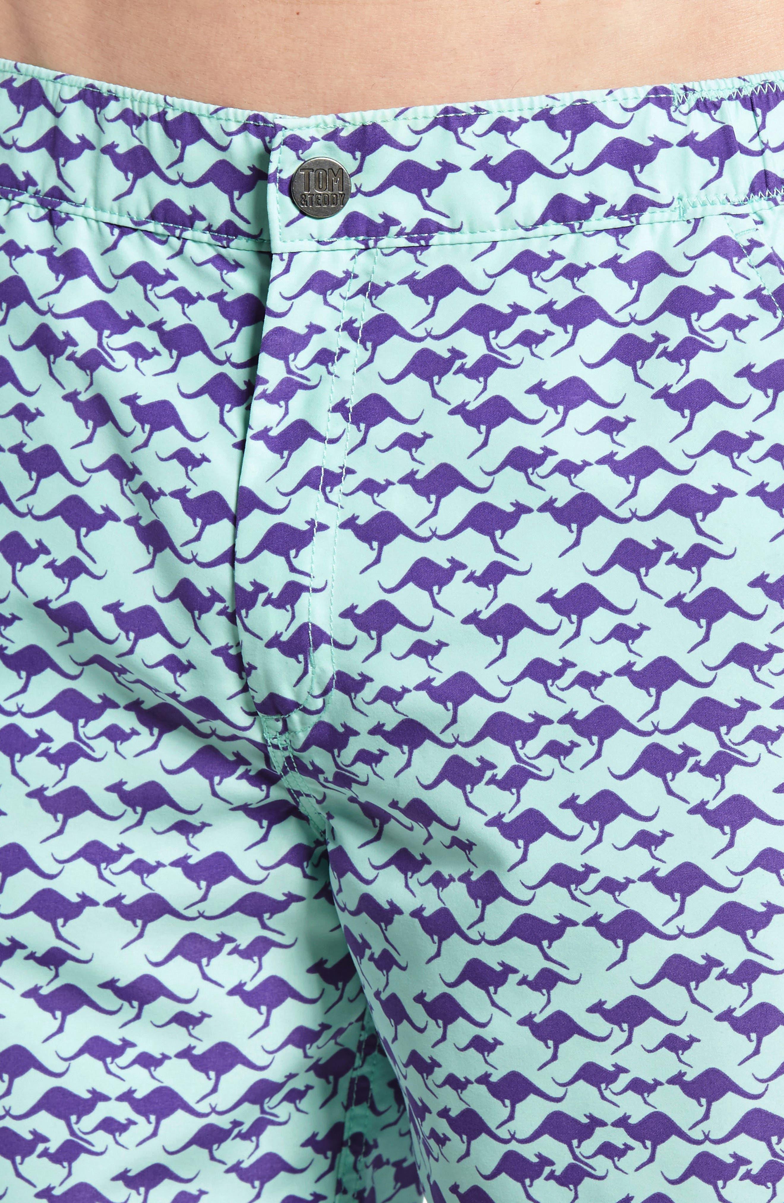 Kangaroo Print Swim Trunks,                             Alternate thumbnail 4, color,                             500