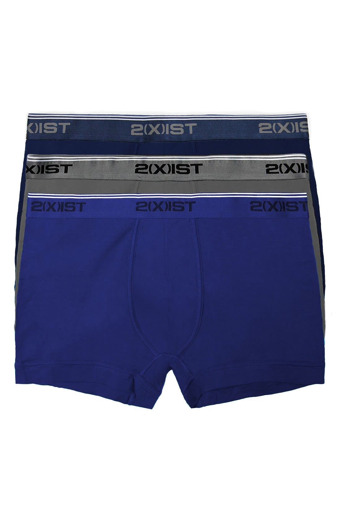 2(X)IST 3-Pack Stretch Boxer Briefs, Main, color, ECLIPSE/ LEAD/ CARIBBEAN