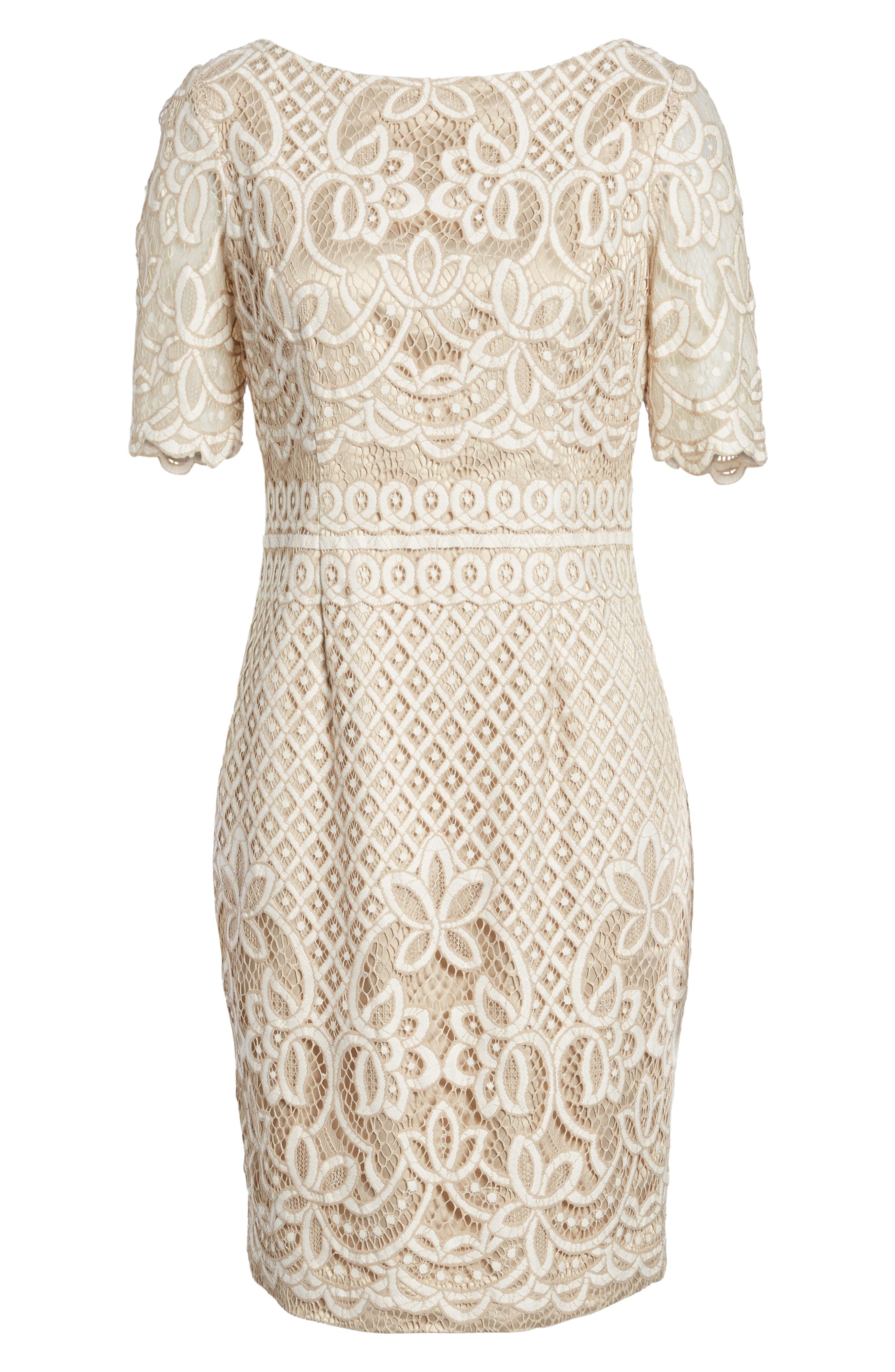 Lace Sheath Dress,                         Main,                         color, IVORY NUDE