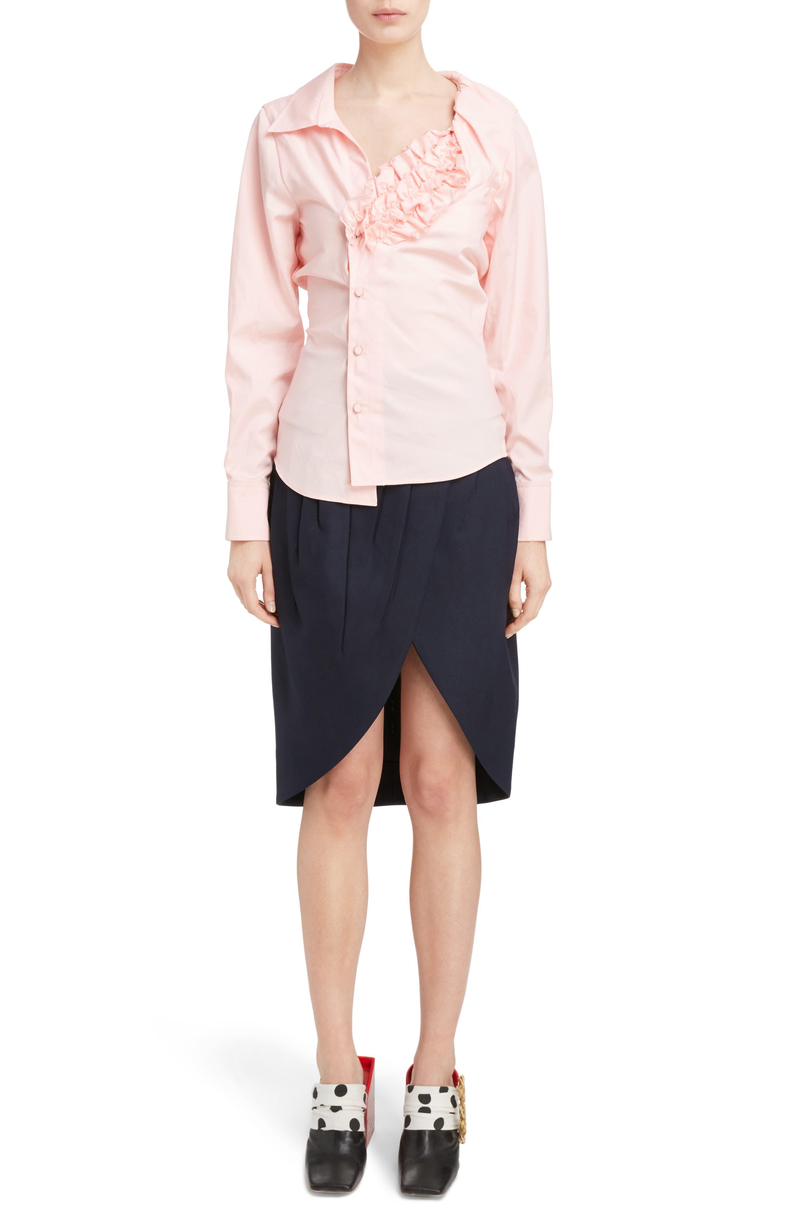 Asymmetrical Ruched Cotton Blouse,                         Main,                         color, 650