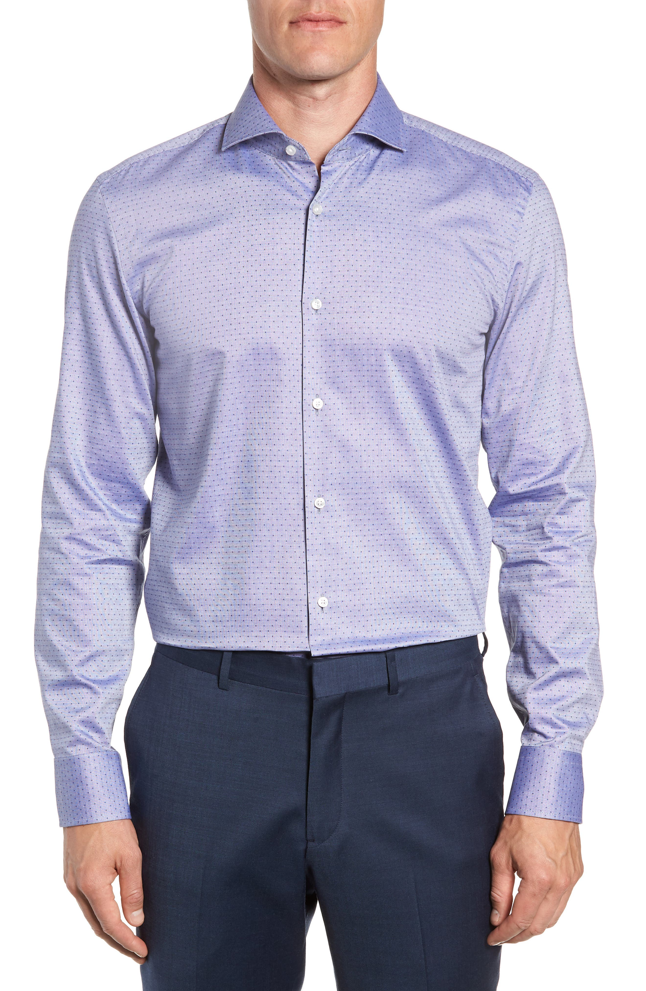 Jason Slim Fit Dot Dress Shirt,                             Main thumbnail 1, color,                             NAVY