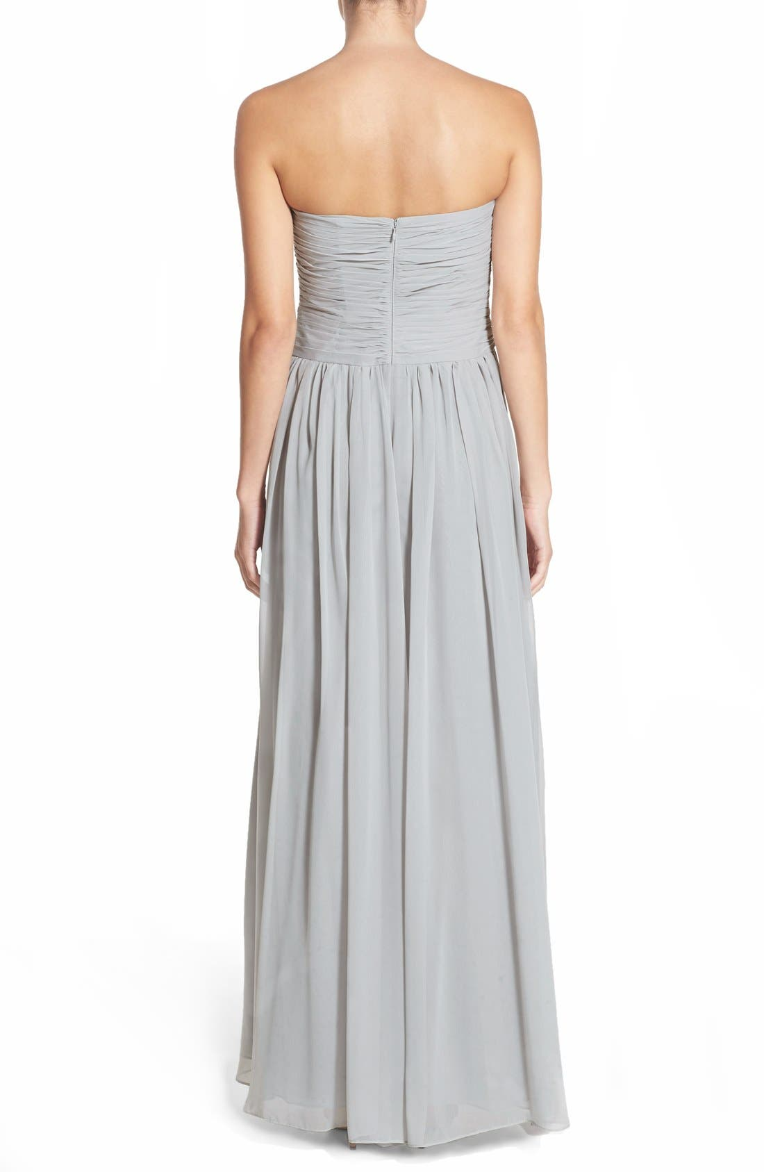 Strapless Ruched Chiffon Gown,                             Alternate thumbnail 5, color,                             021