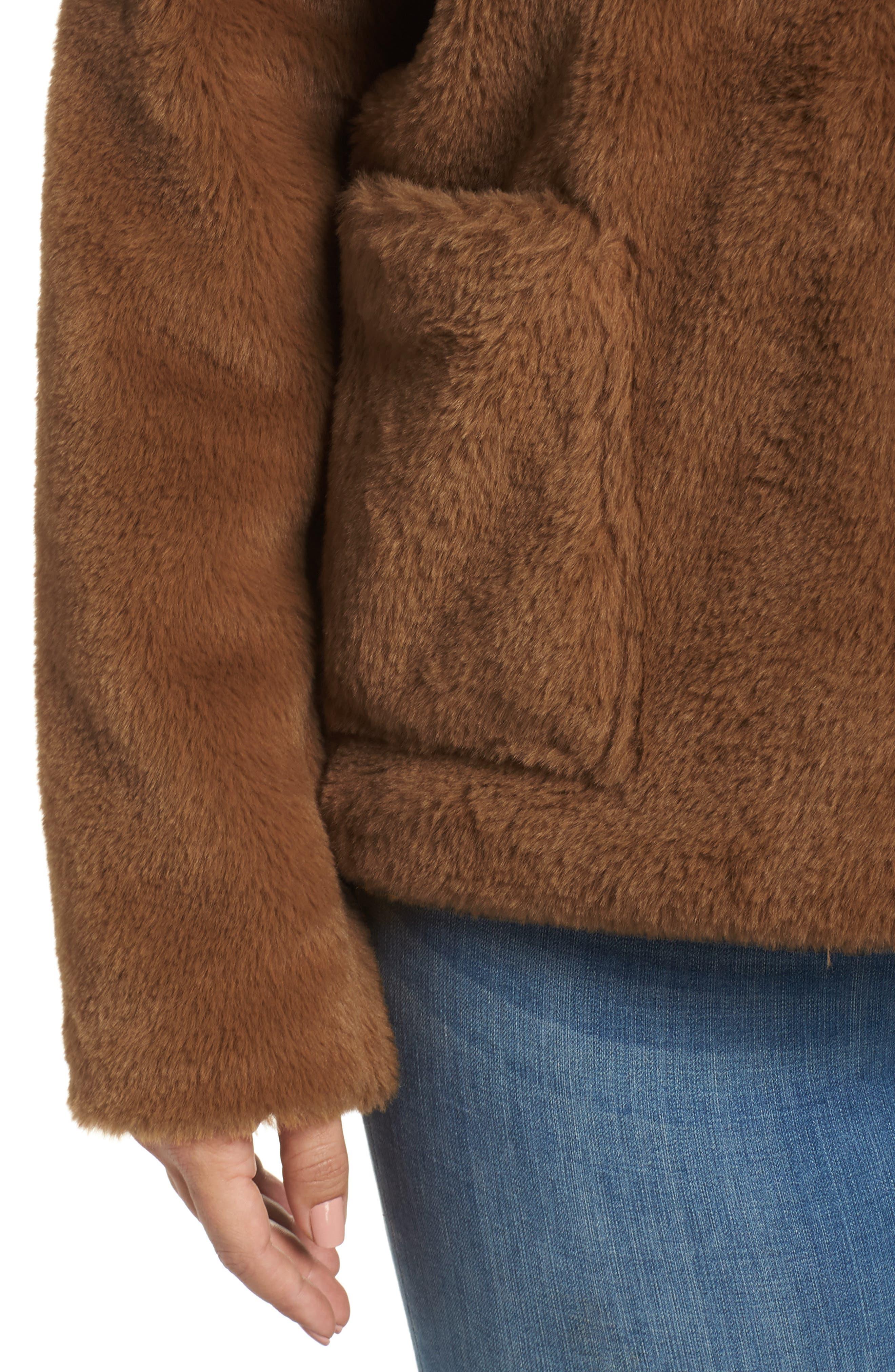 Fur-Fect Faux Fur Jacket,                             Alternate thumbnail 4, color,                             TAN DALE
