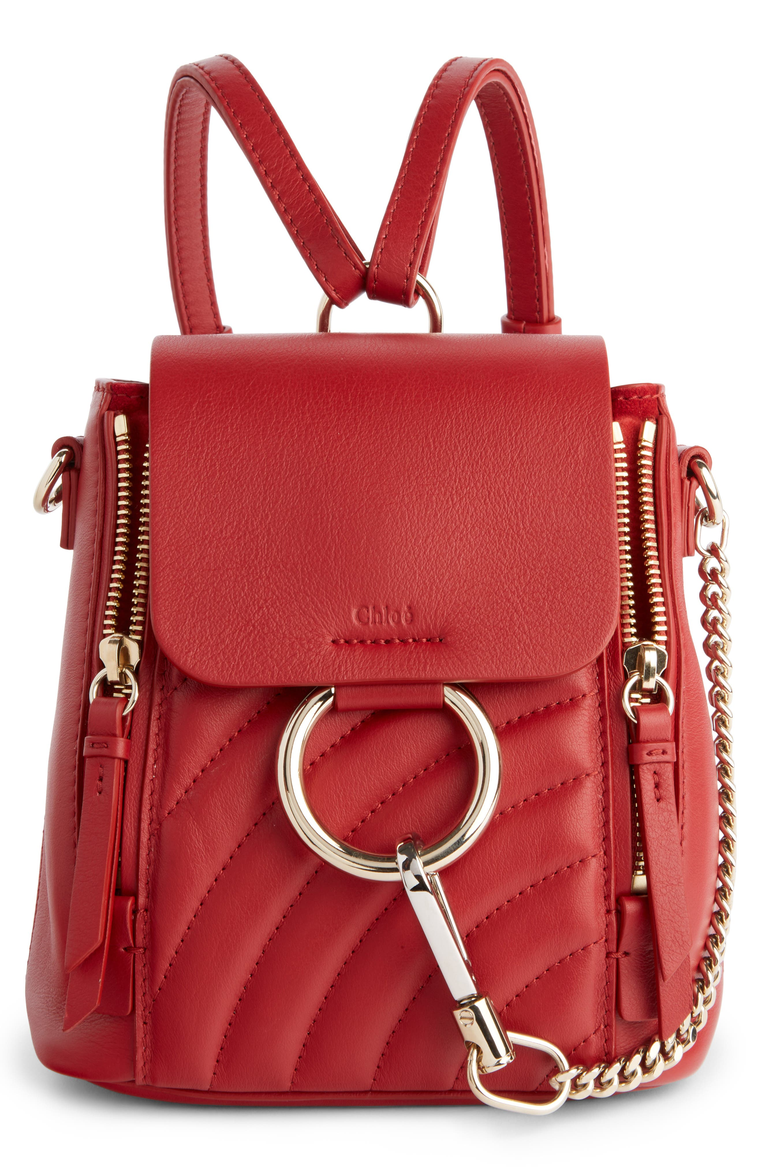 Mini Faye Quilted Leather Backpack,                         Main,                         color, DAHLIA RED