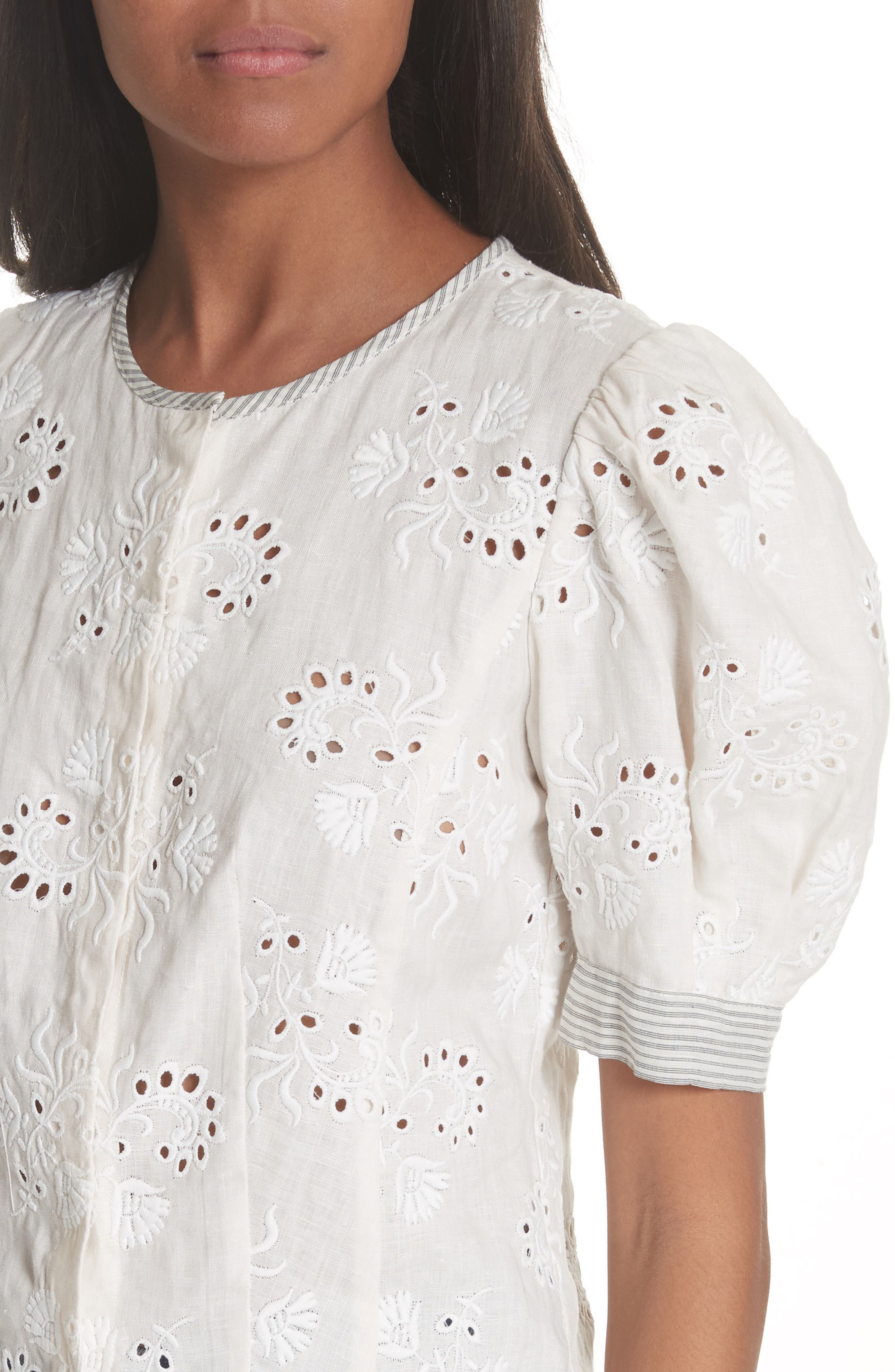 Garden Eyelet Linen Top,                             Alternate thumbnail 4, color,                             192