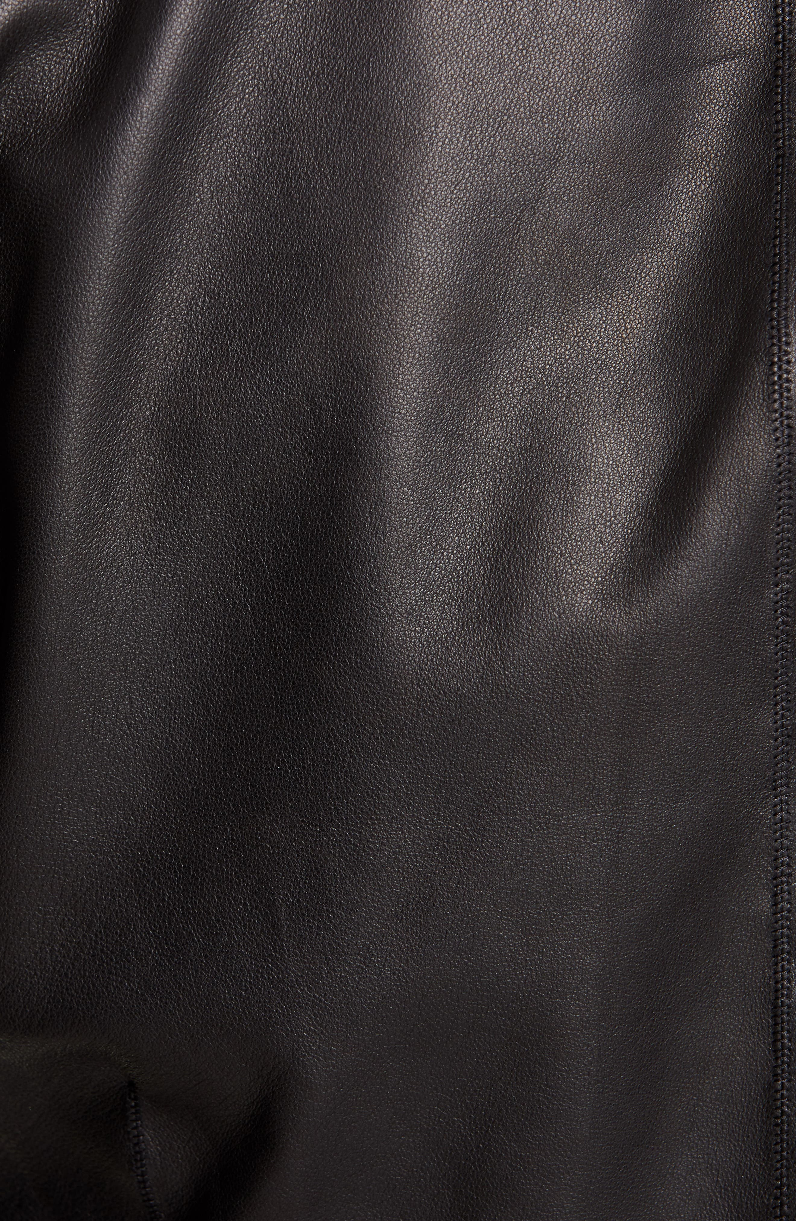 RICK OWENS,                             Embroidered Leather Biker Jacket,                             Alternate thumbnail 6, color,                             BLACK PEARL