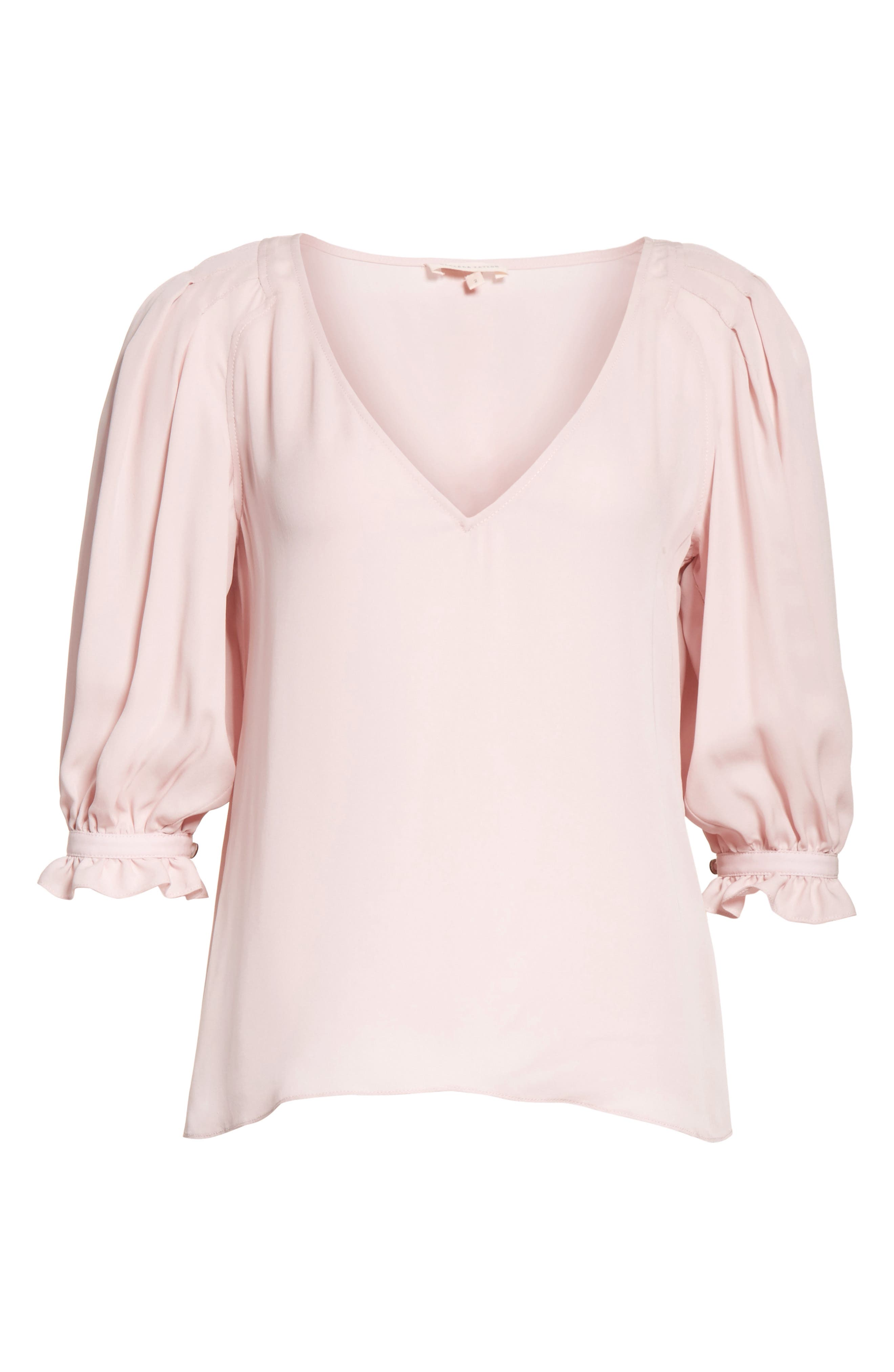 V-Neck Silk Blouse,                             Alternate thumbnail 6, color,                             655