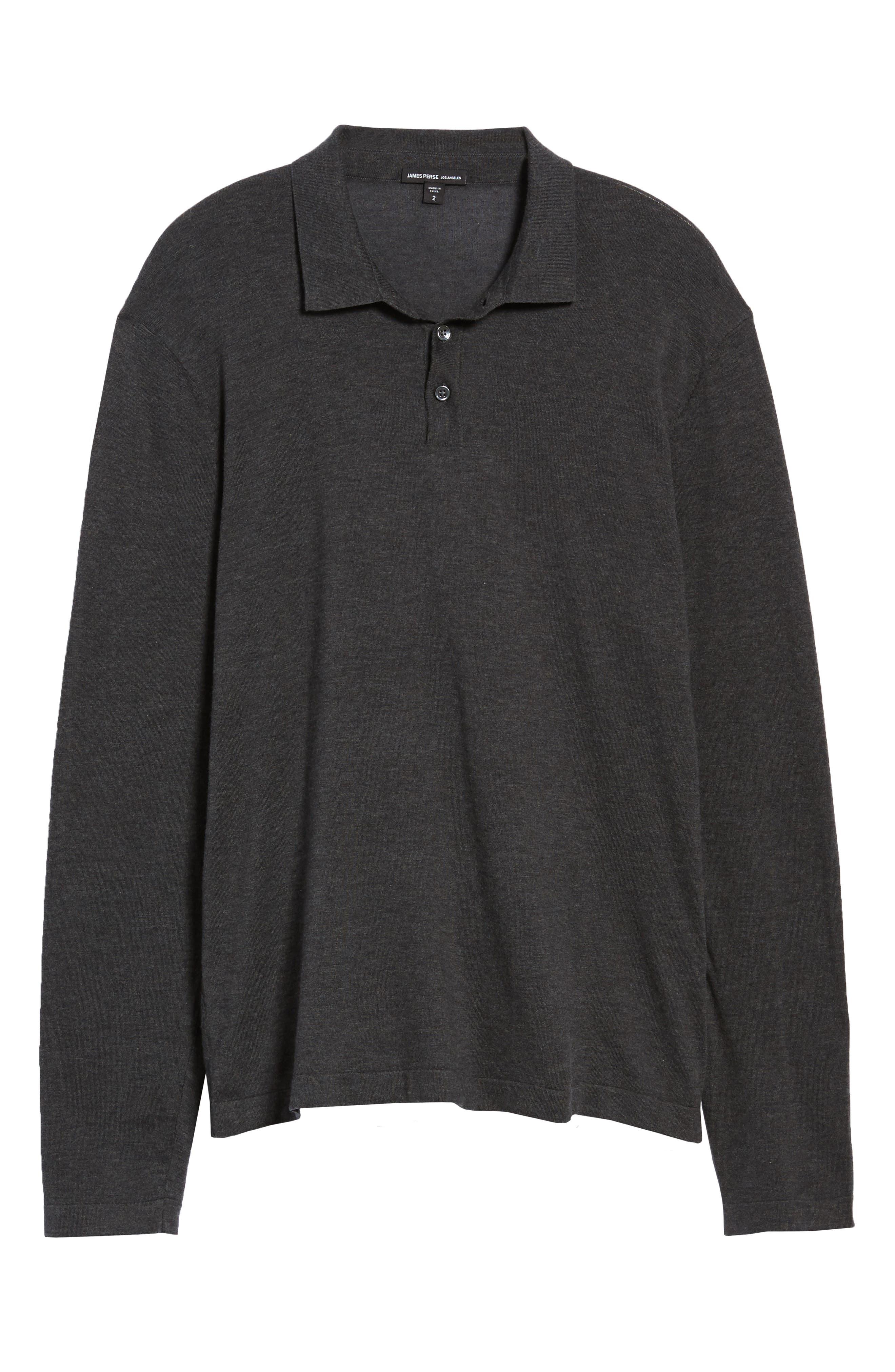 Fine Gauge Regular Fit Cotton Polo,                             Alternate thumbnail 6, color,                             HEATHER CHARCOAL