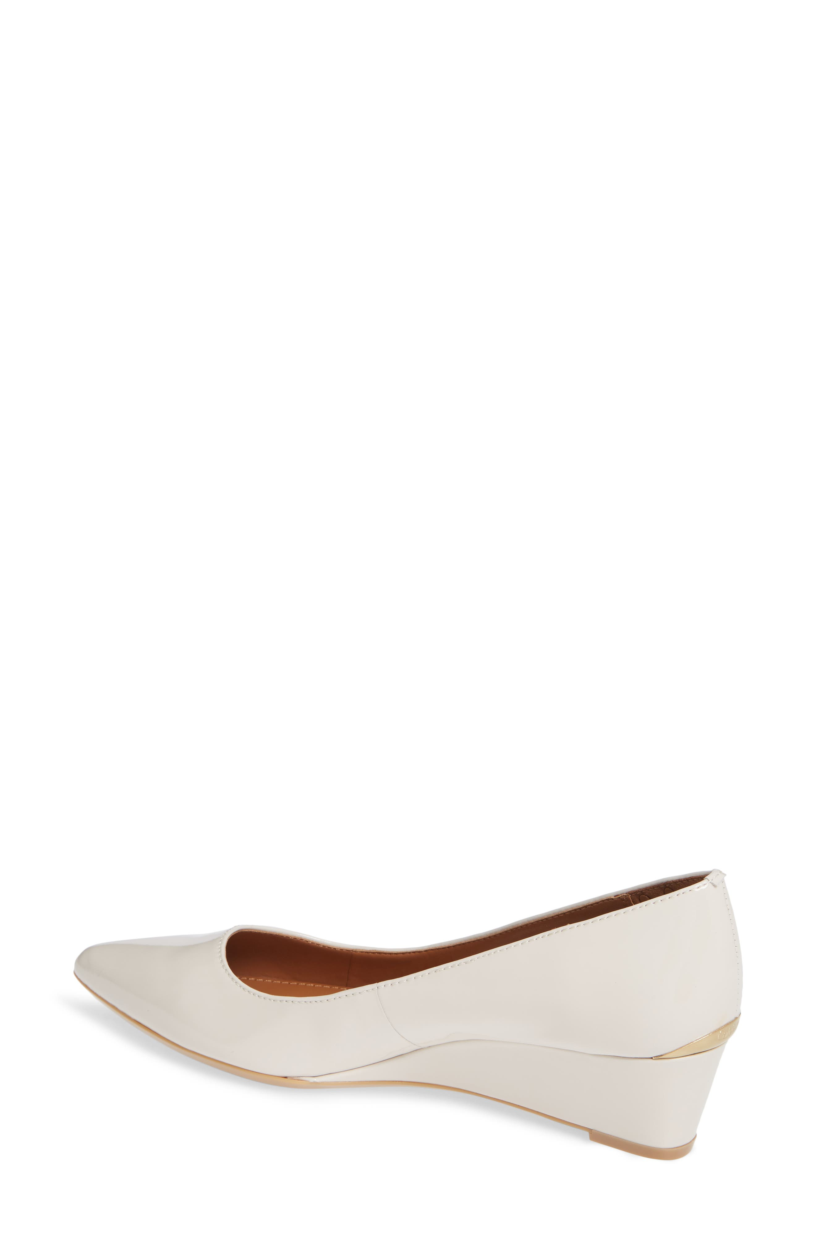 'Germina' Pointy Toe Wedge,                             Alternate thumbnail 2, color,                             SOFT WHITE PATENT