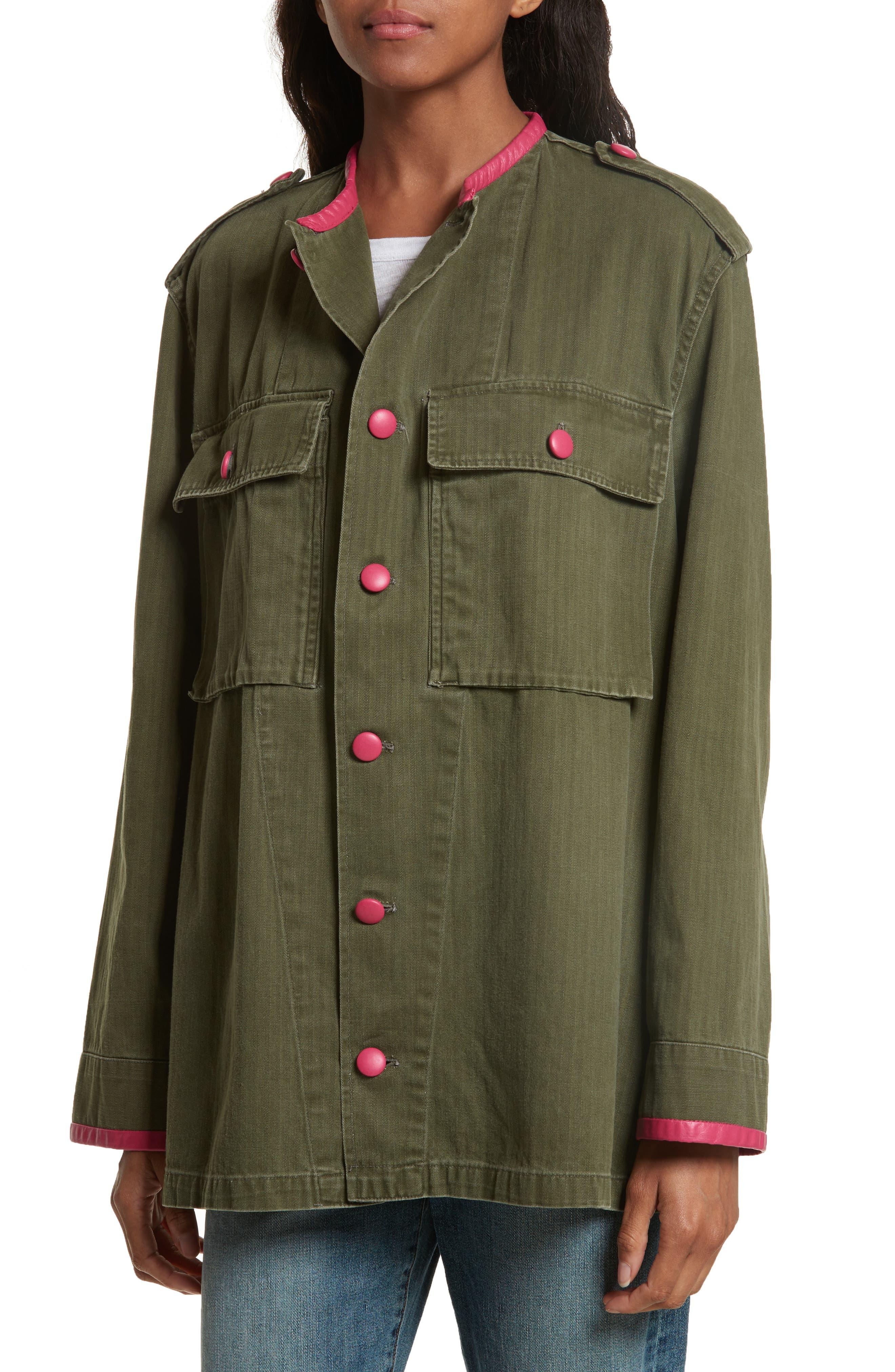 Leather Trim Vintage Army Jacket,                             Alternate thumbnail 4, color,                             300