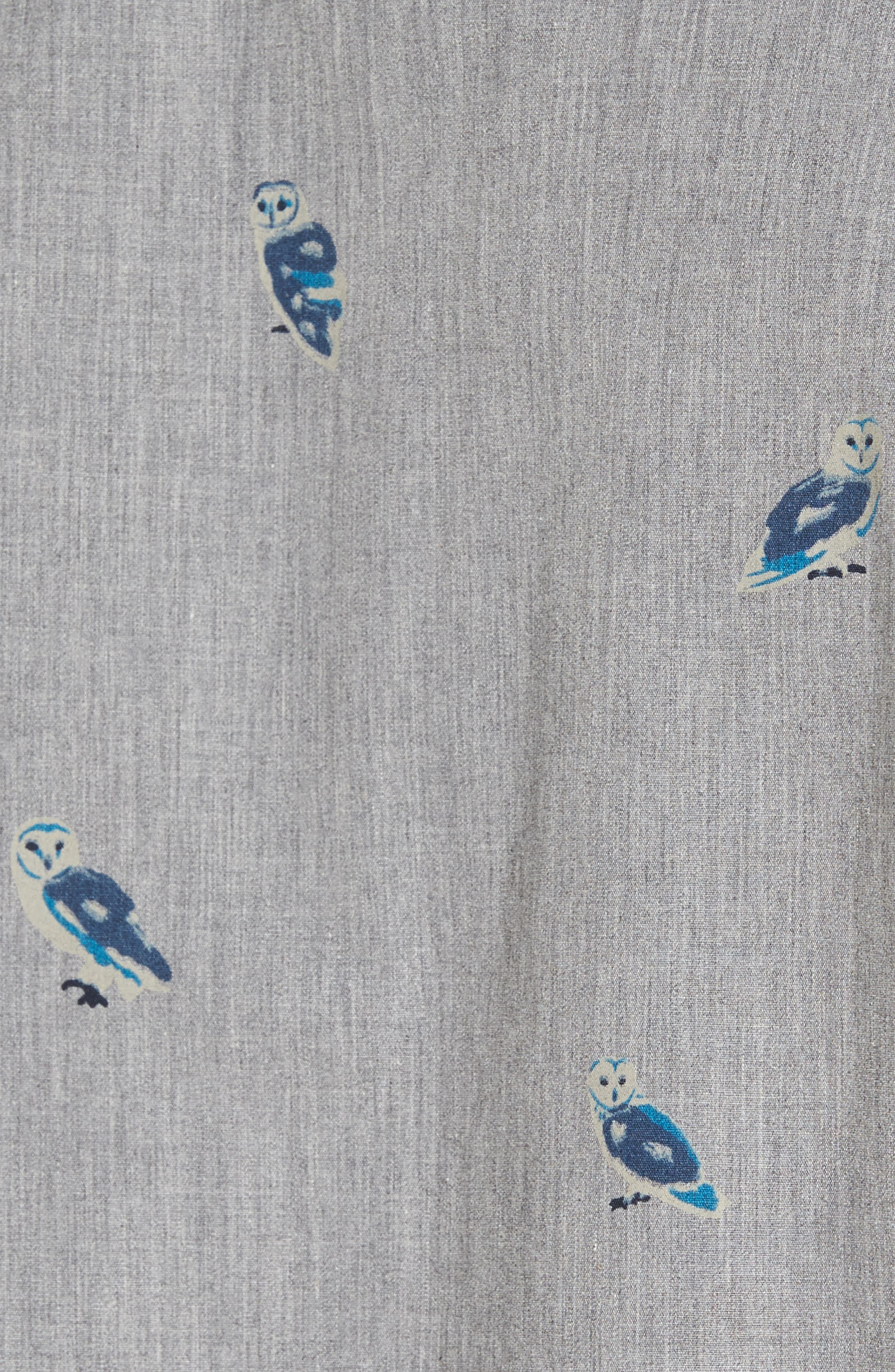 Slim Fit Owl Print Sport Shirt,                             Alternate thumbnail 5, color,                             020