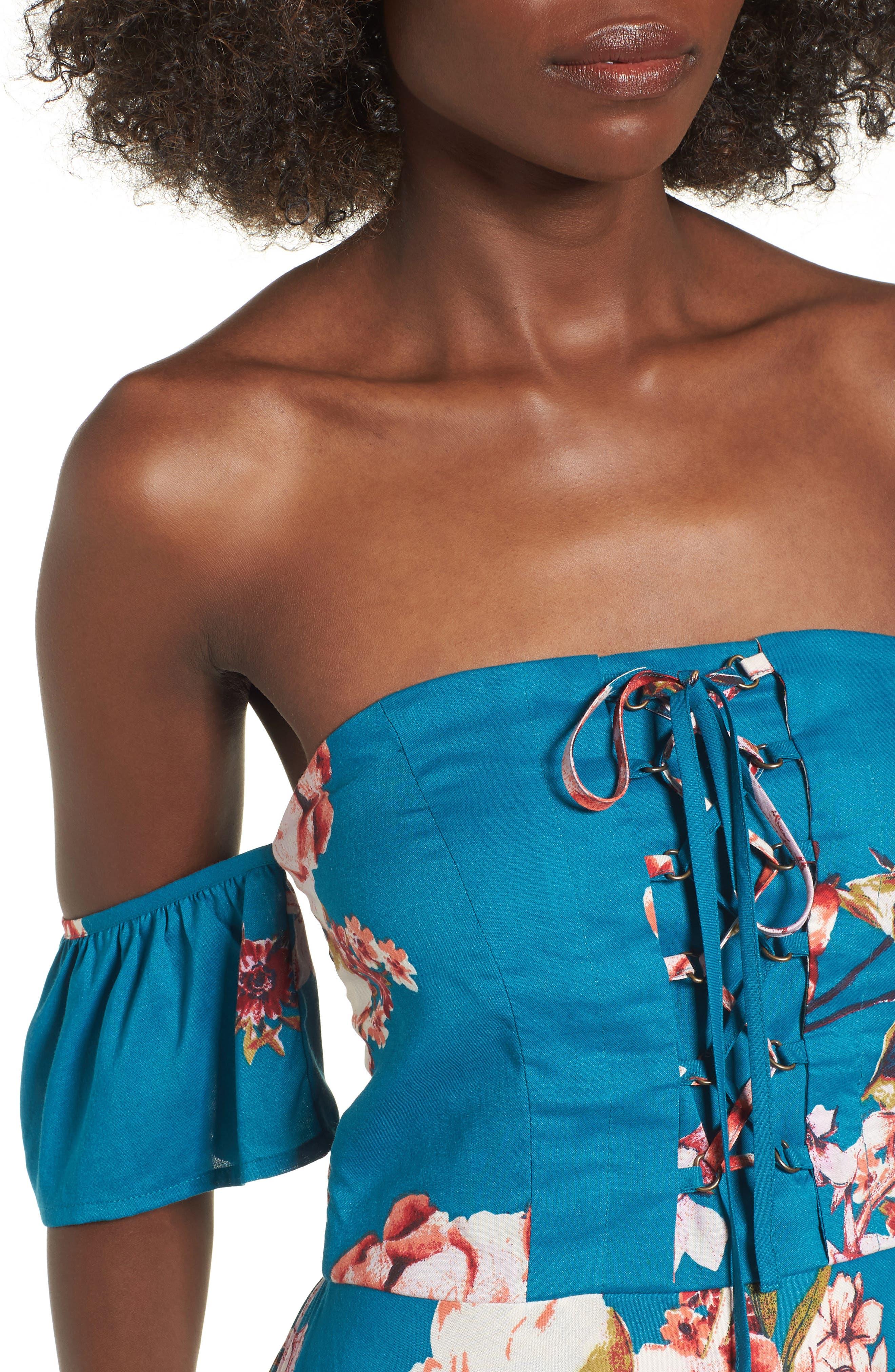 Lace Up Cold Shoulder Maxi Dress,                             Alternate thumbnail 4, color,                             402