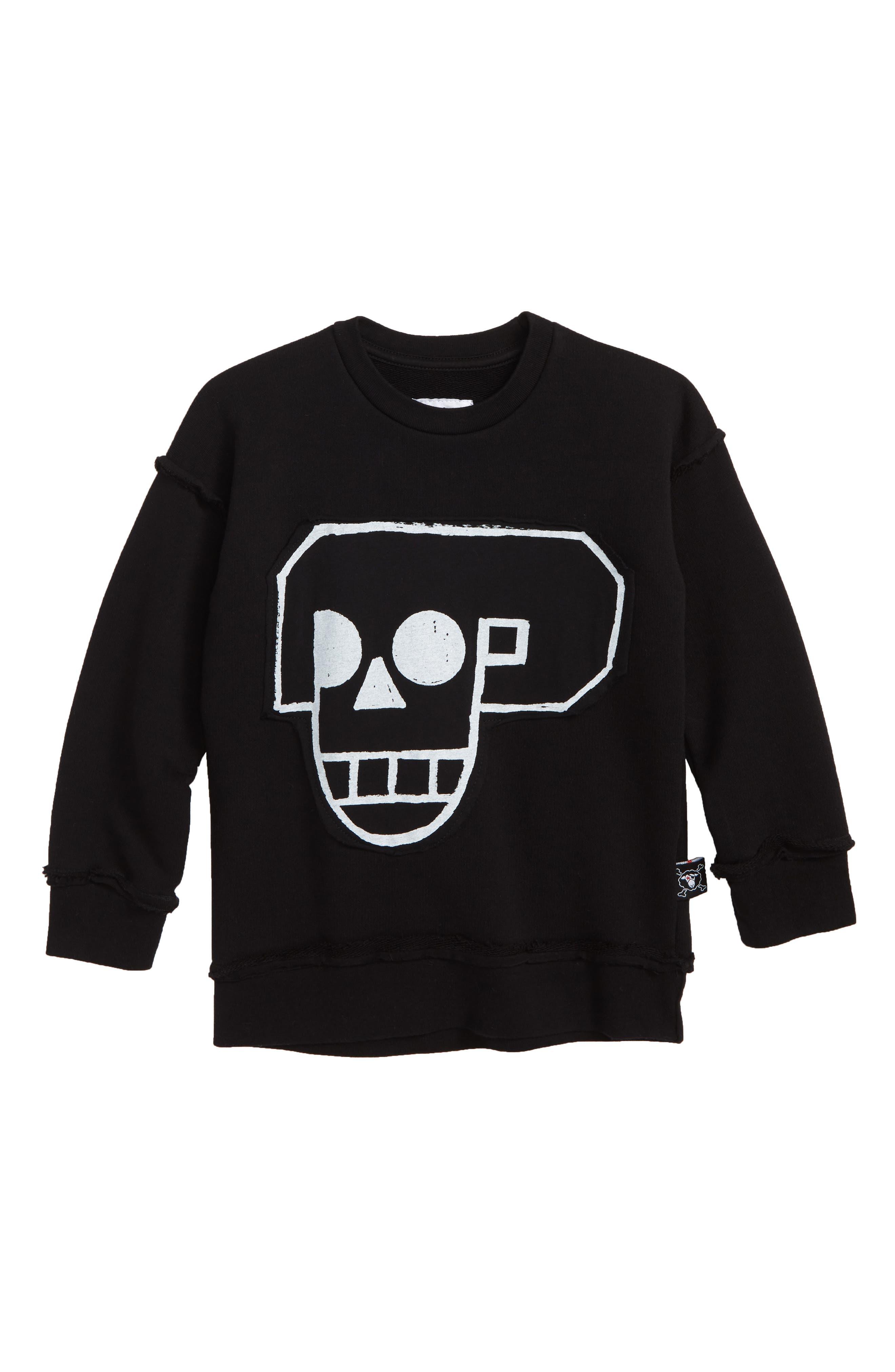 Skull Robot Patch Sweatshirt,                             Main thumbnail 1, color,                             BLACK