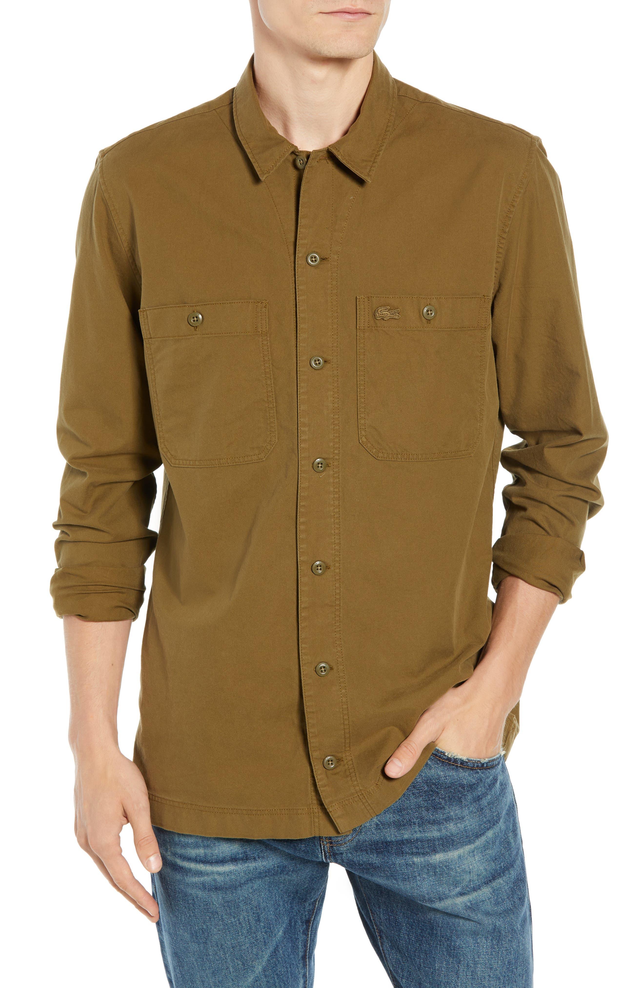 Lacoste Regular Fit Lightweight Cotton Flannel Shirt, Brown