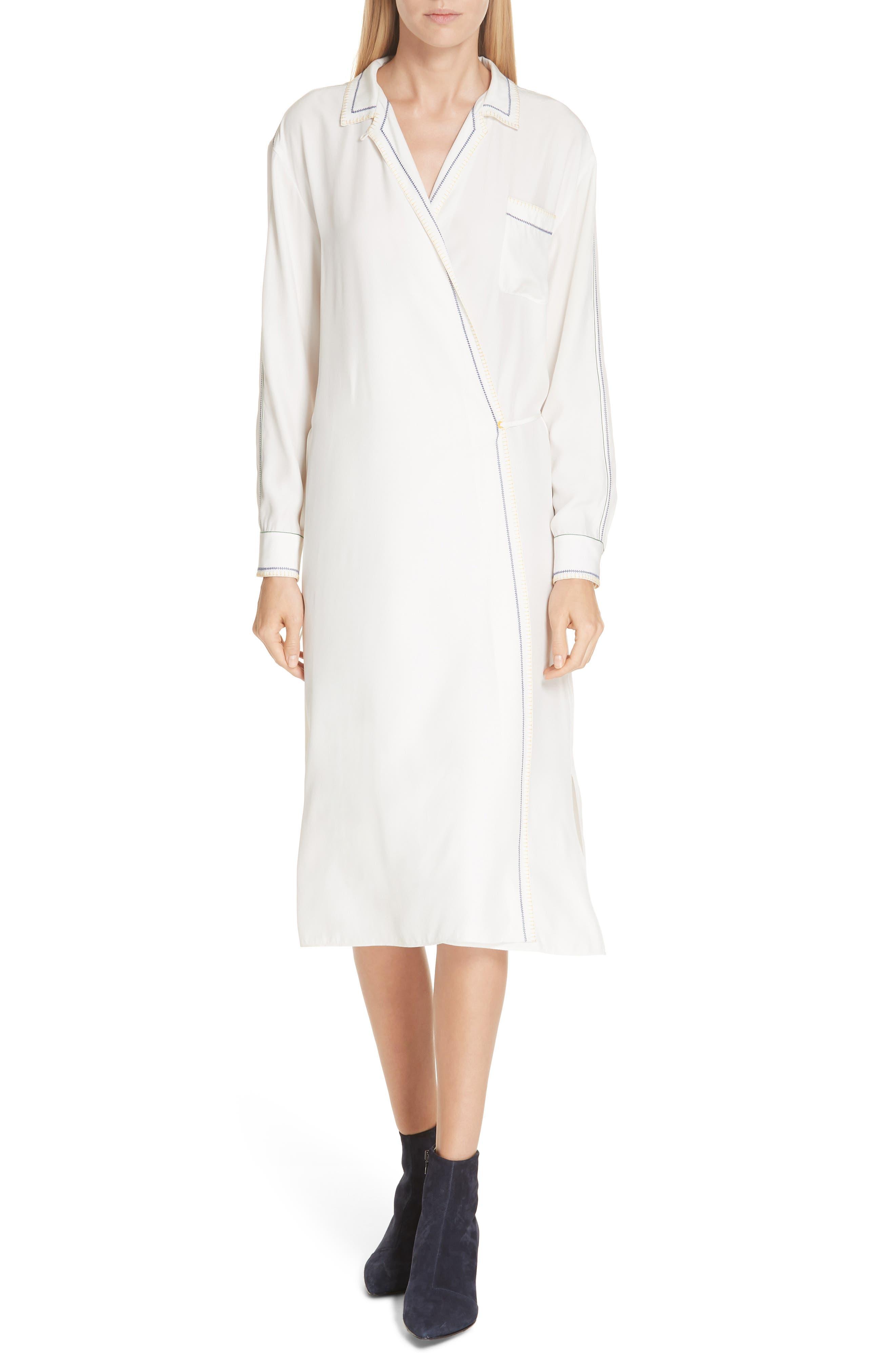 Rag & Bone Anika Embroidered Silk Charmeuse Wrap Dress, White