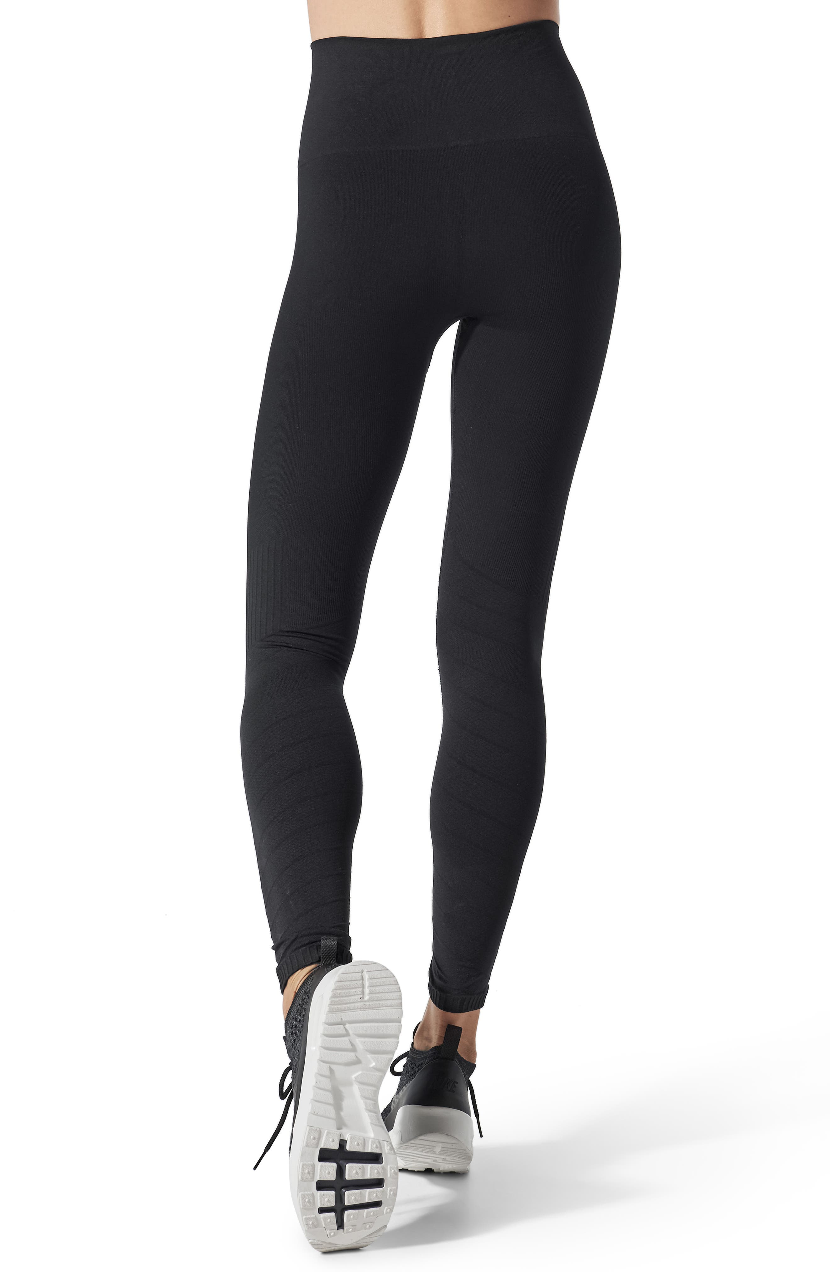 SportSupport<sup>®</sup> Hipster Contour Support Maternity/Postpartum Leggings,                             Alternate thumbnail 2, color,                             BLACK