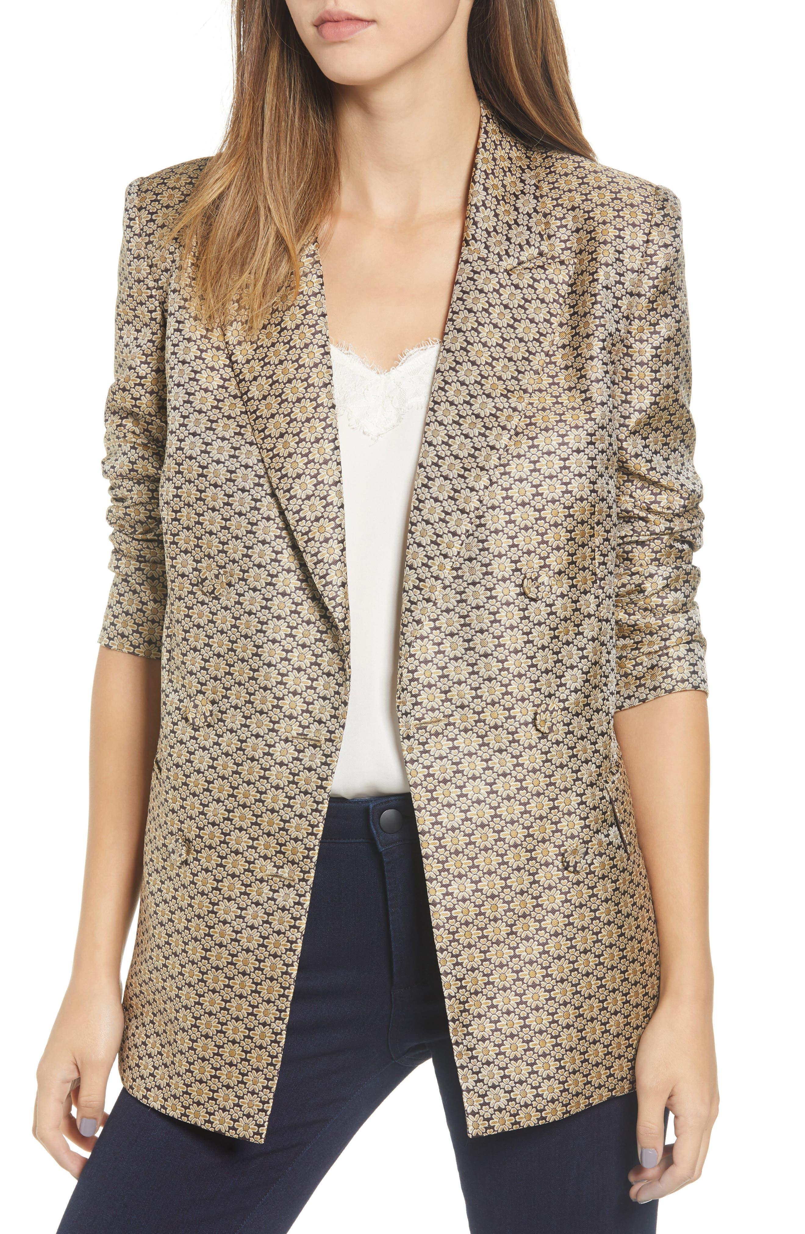 Finn Metallic Daisy Double Breasted Blazer,                         Main,                         color, DAISY FOULARD