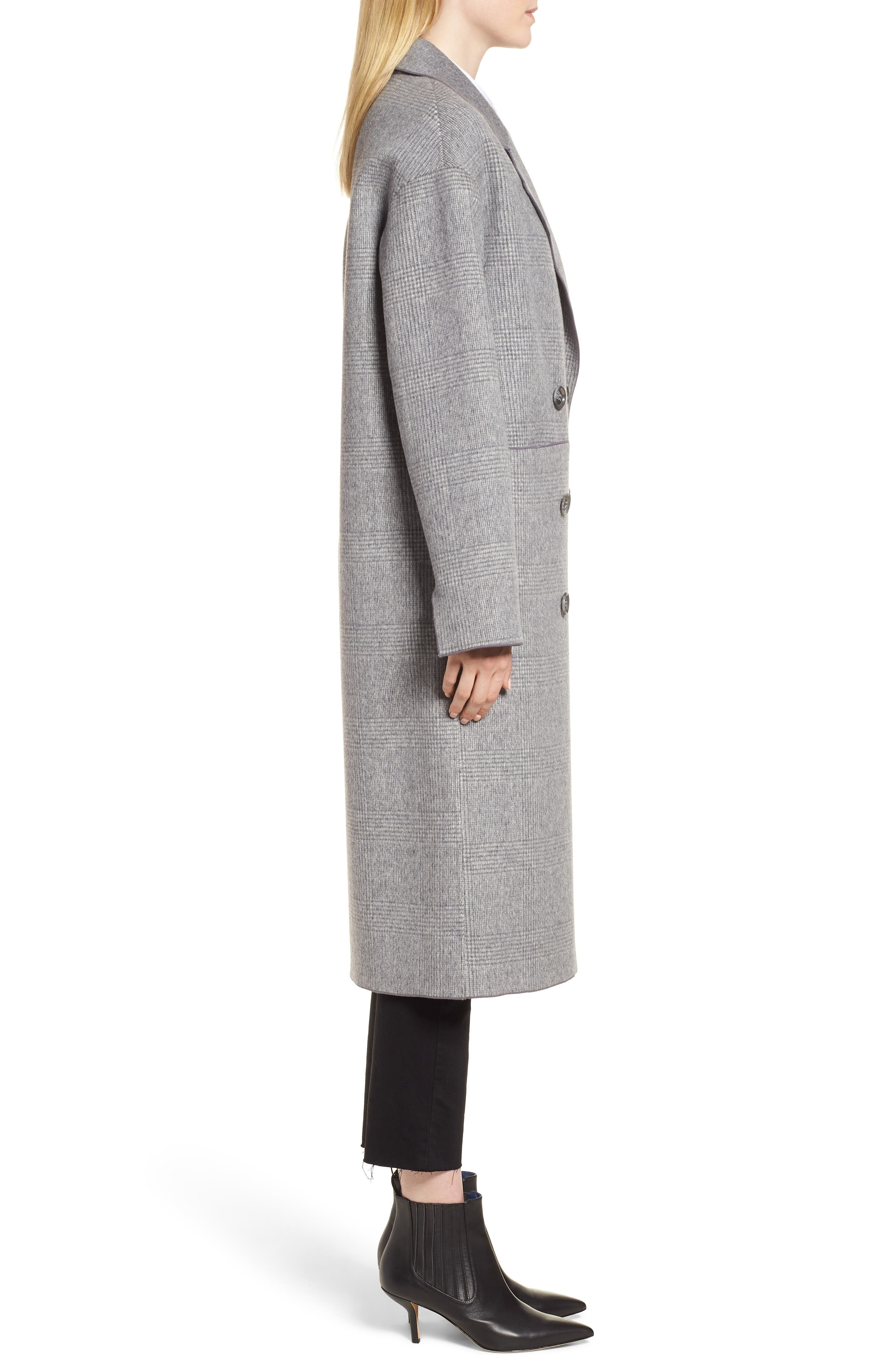Amy Double Breasted Wool Coat,                             Alternate thumbnail 3, color,                             GREY PLAID