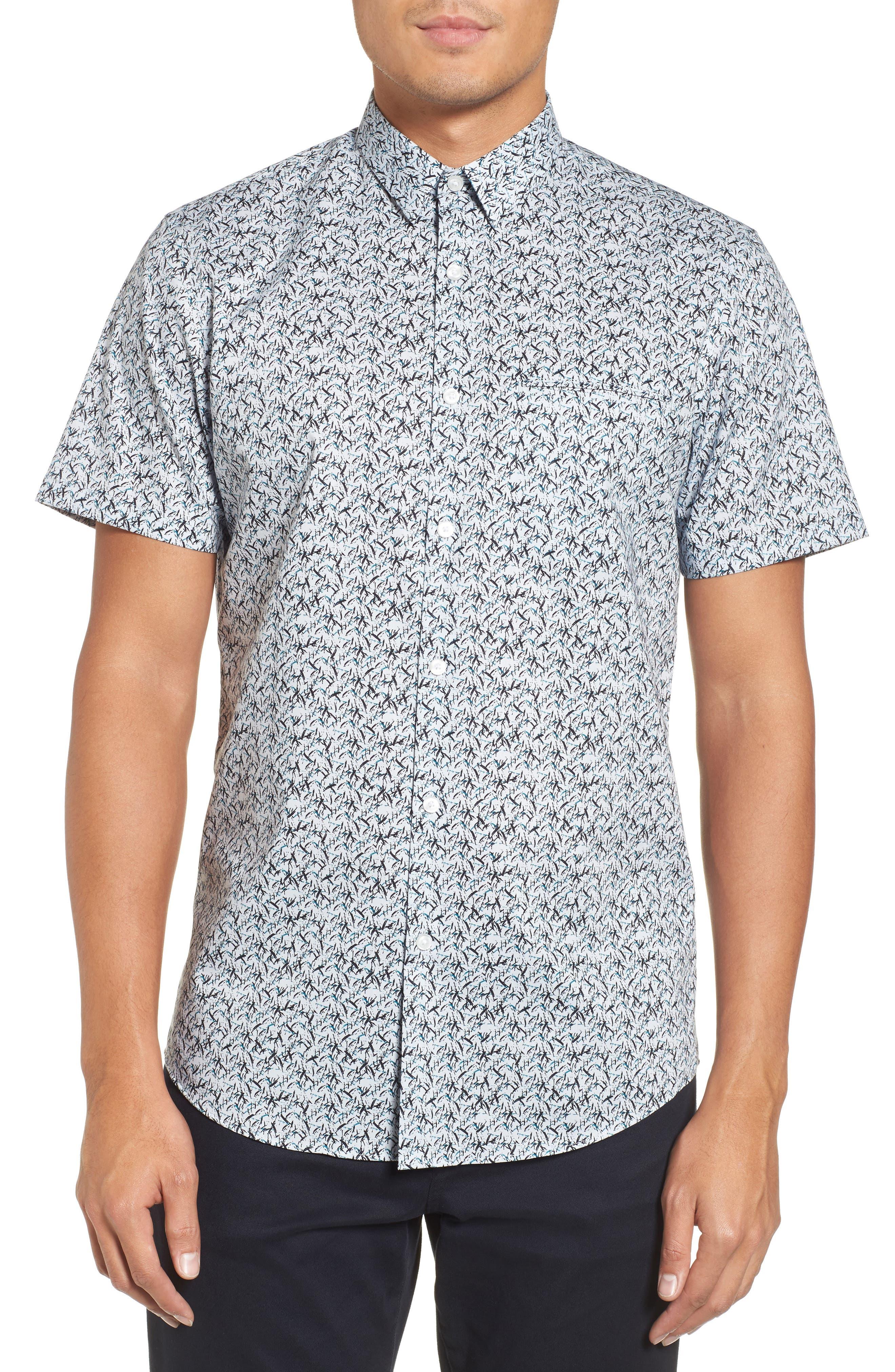 Slim Fit No-Iron Print Sport Shirt,                         Main,                         color, 450