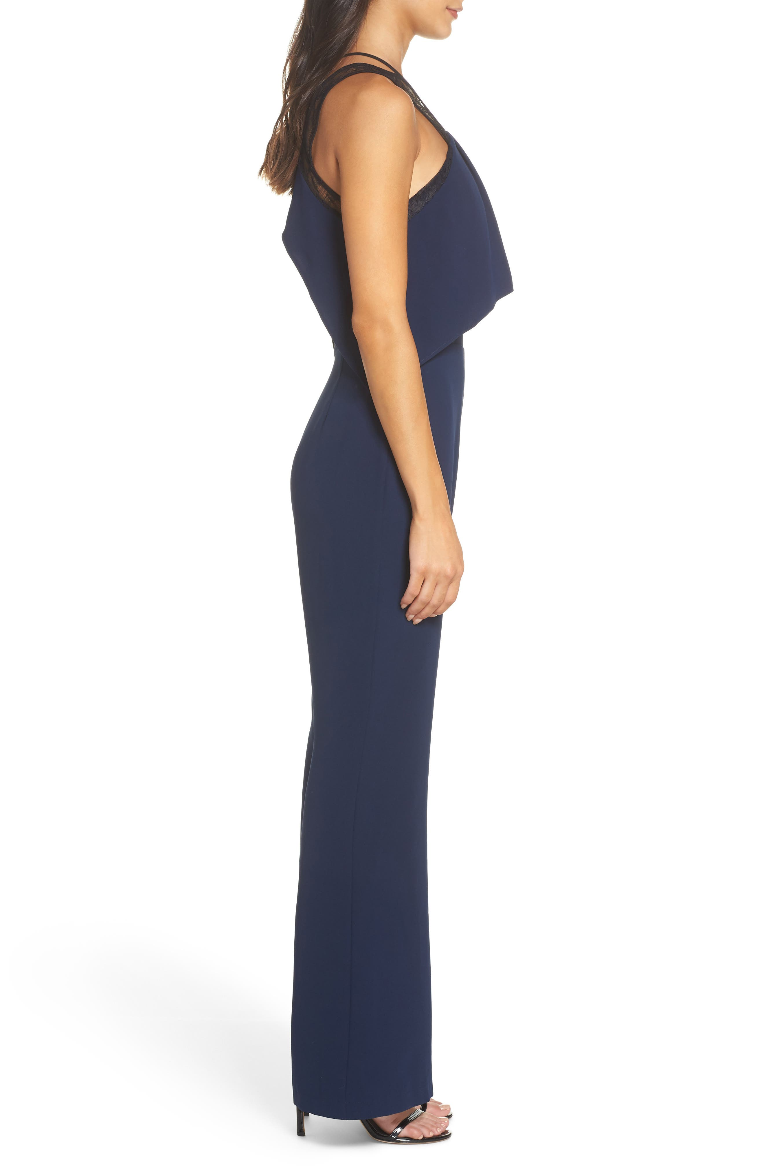 Lace Strap Popover Bodice Jumpsuit,                             Alternate thumbnail 3, color,                             NAVY