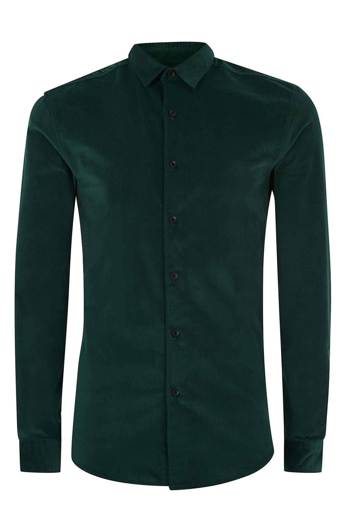Muscle Fit Corduroy Shirt,                             Alternate thumbnail 4, color,                             GREEN