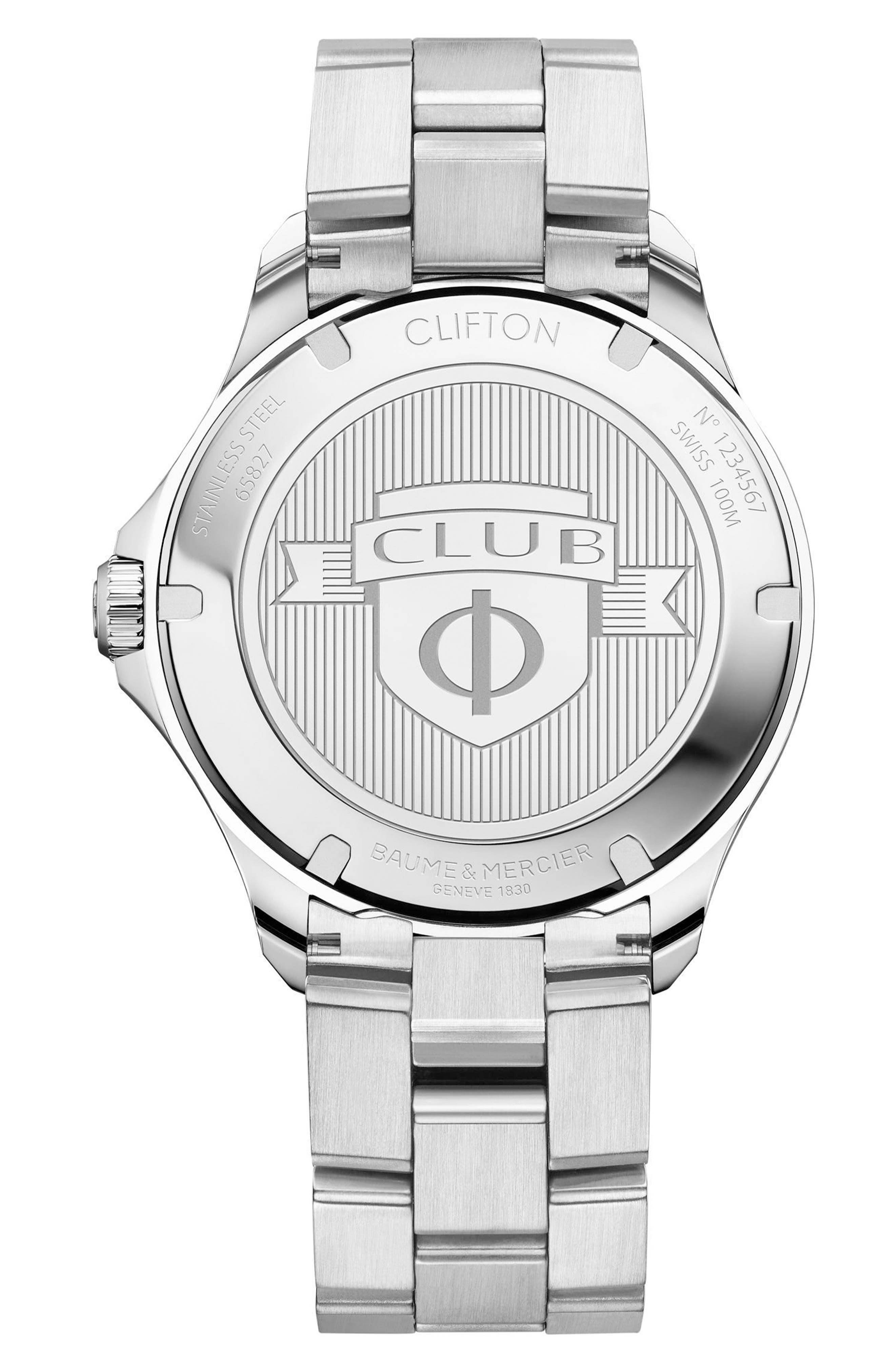 Clifton Automatic Bracelet Watch, 42mm,                             Alternate thumbnail 2, color,                             BLACK/ SILVER