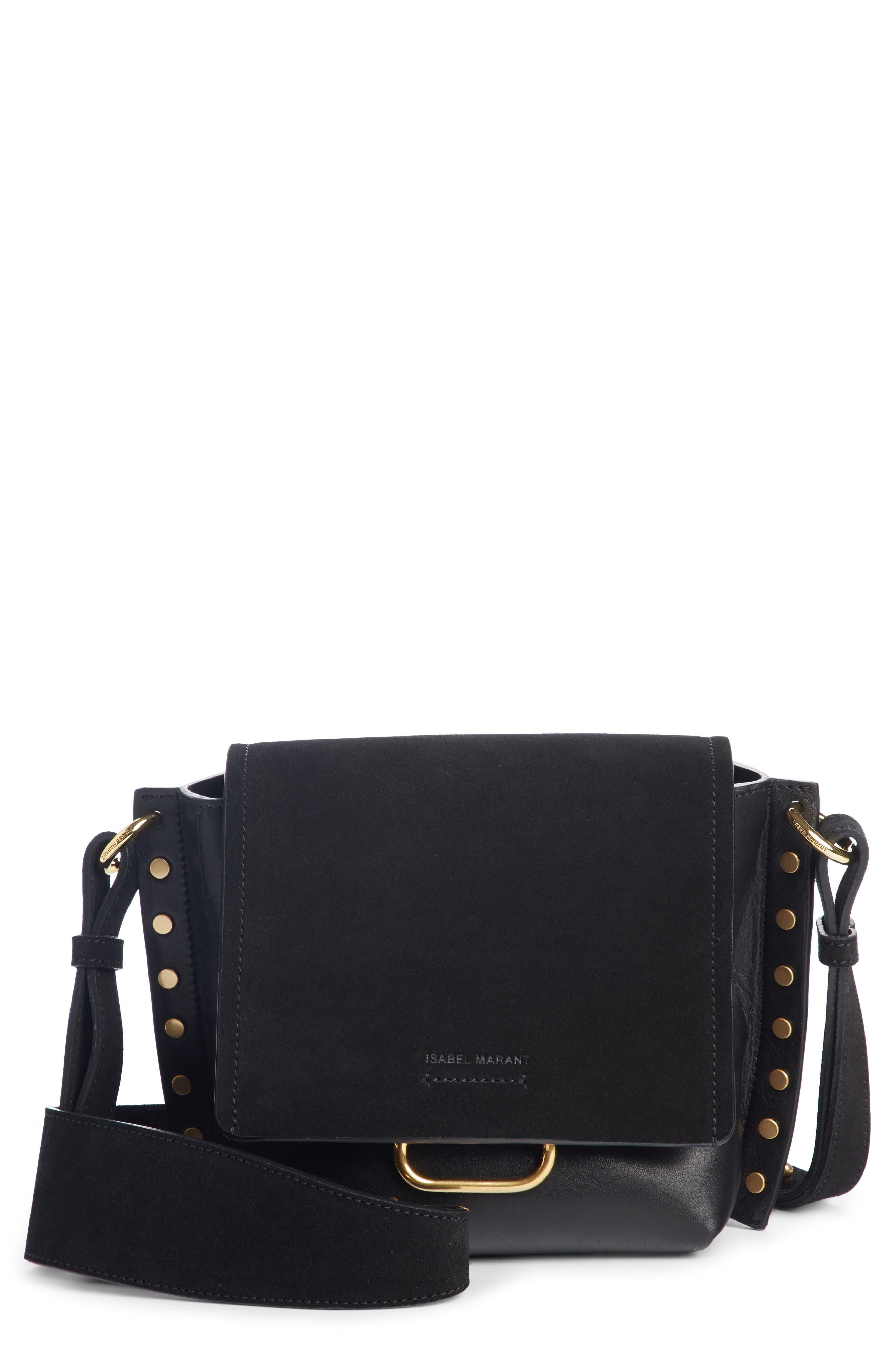 Kleny Leather Shoulder Bag,                         Main,                         color, BLACK