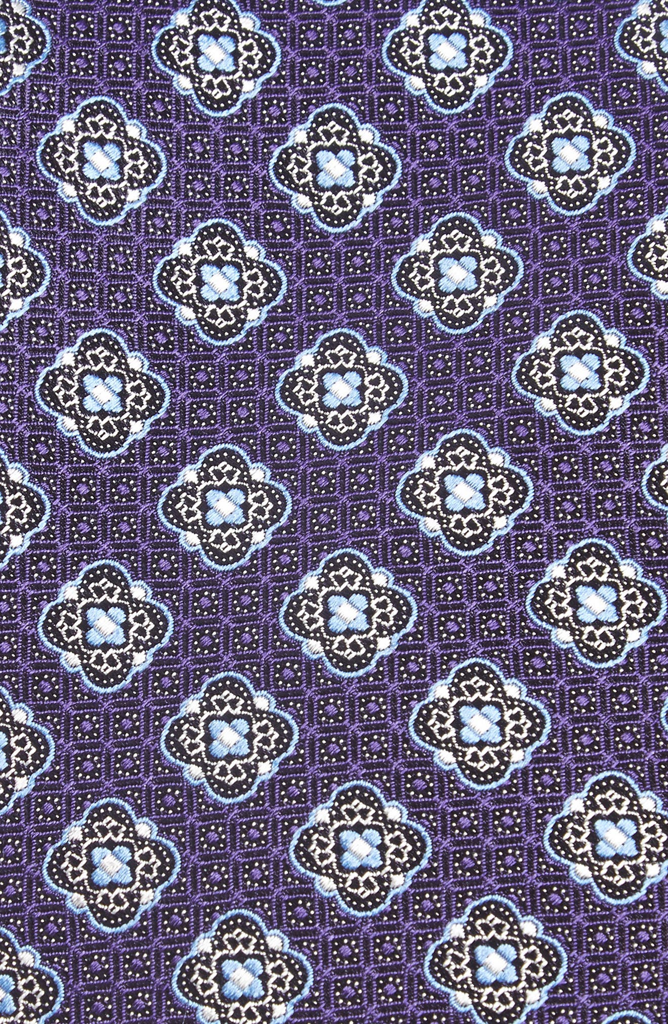 Medallion Silk Tie,                             Alternate thumbnail 2, color,                             PURPLE